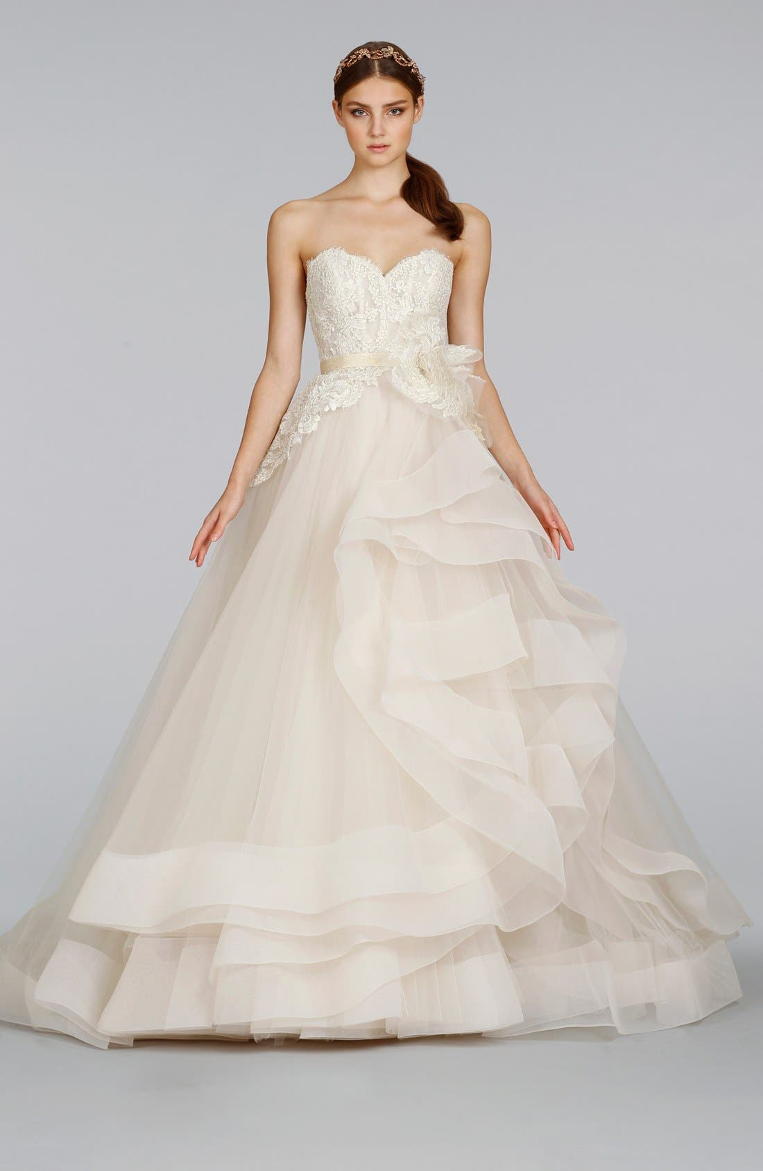 Strapless Lace & Layered Tulle Ballgown,                             Alternate thumbnail 5, color,                             IVORY/GOLD/CHAMPAGNE