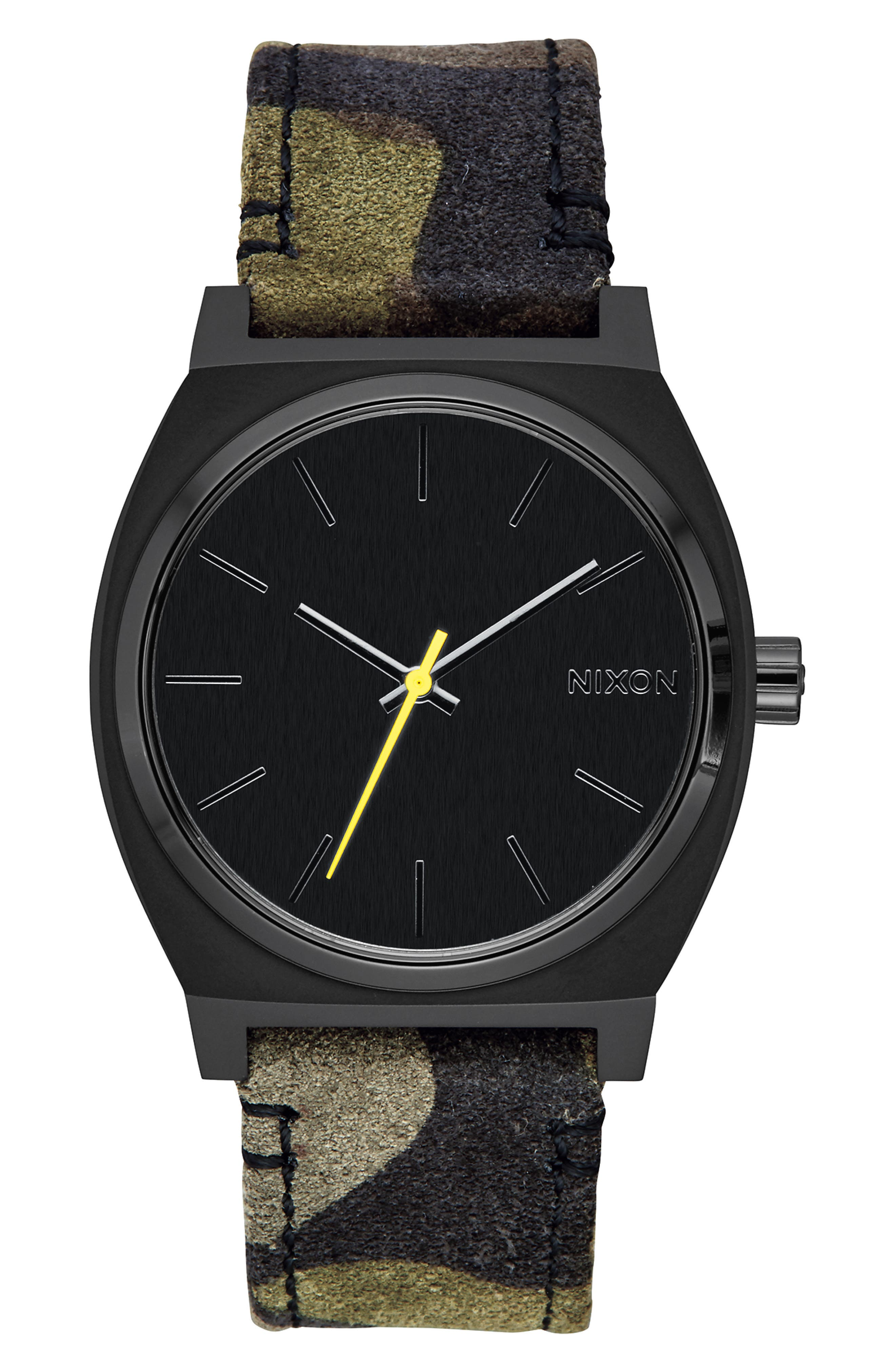 'The Time Teller' Leather Strap Watch, 37mm,                             Main thumbnail 1, color,                             CAMO/ BLACK