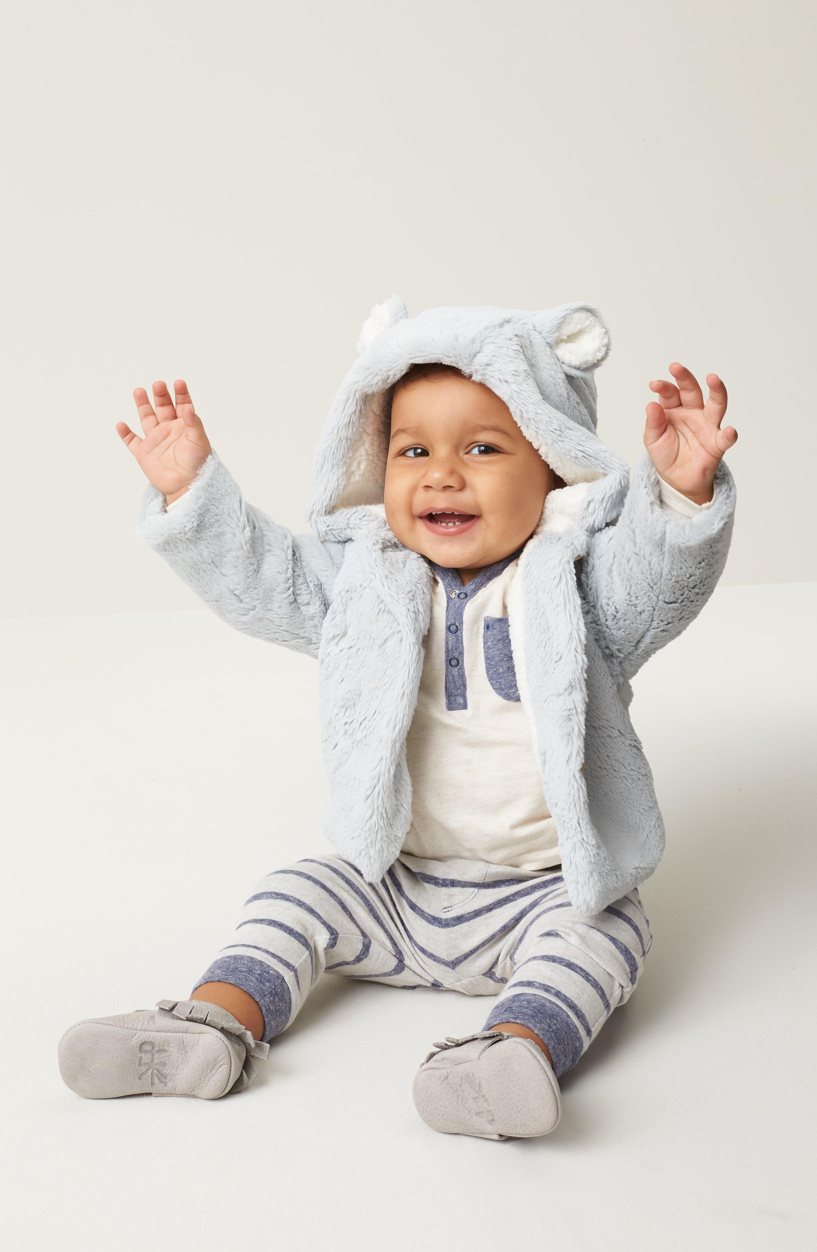 Fluffy Bear Hooded Jacket,                             Alternate thumbnail 4, color,                             GREY MICRO