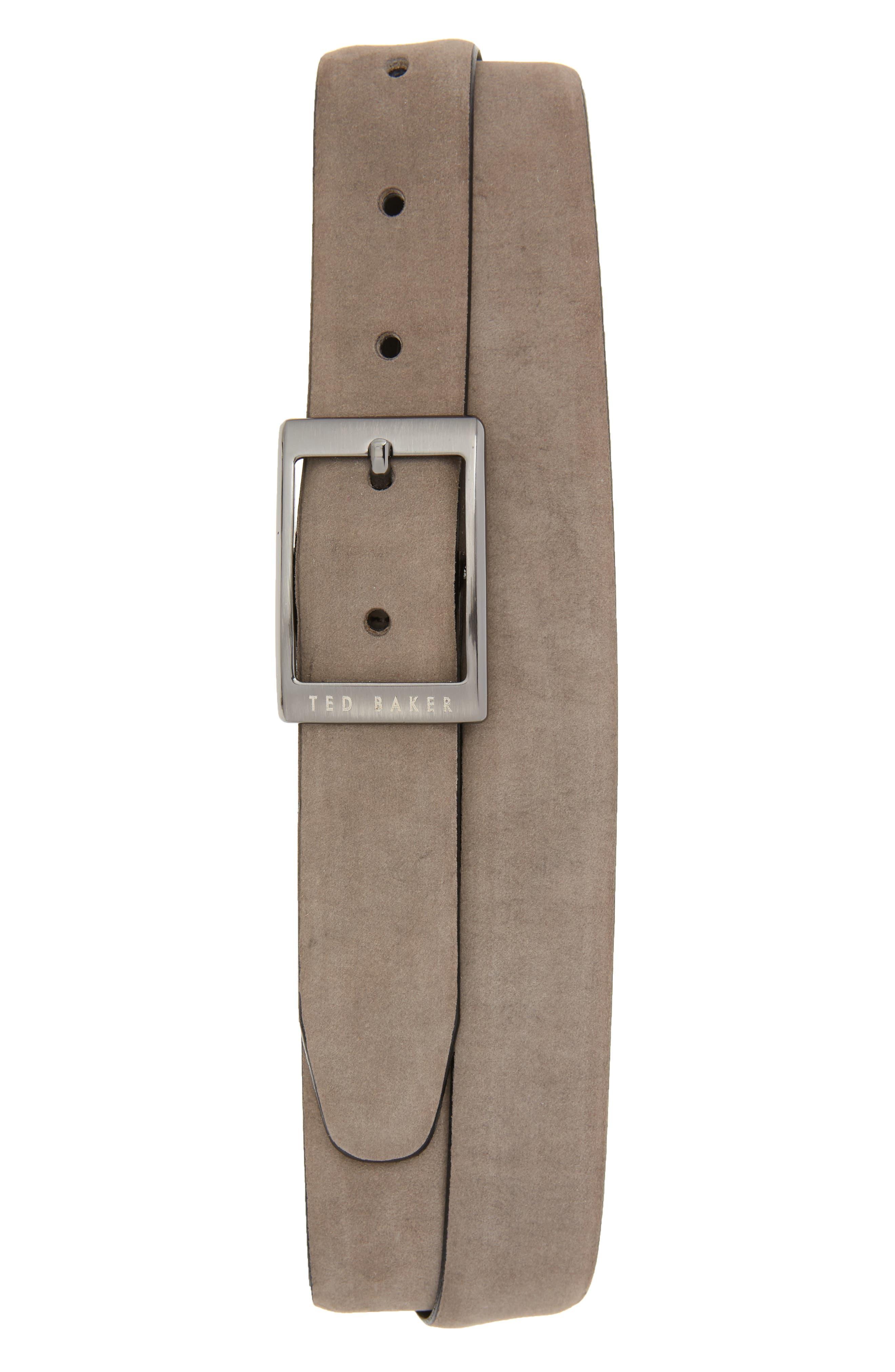 Ted Baker London Nubuck Leather Belt, Grey