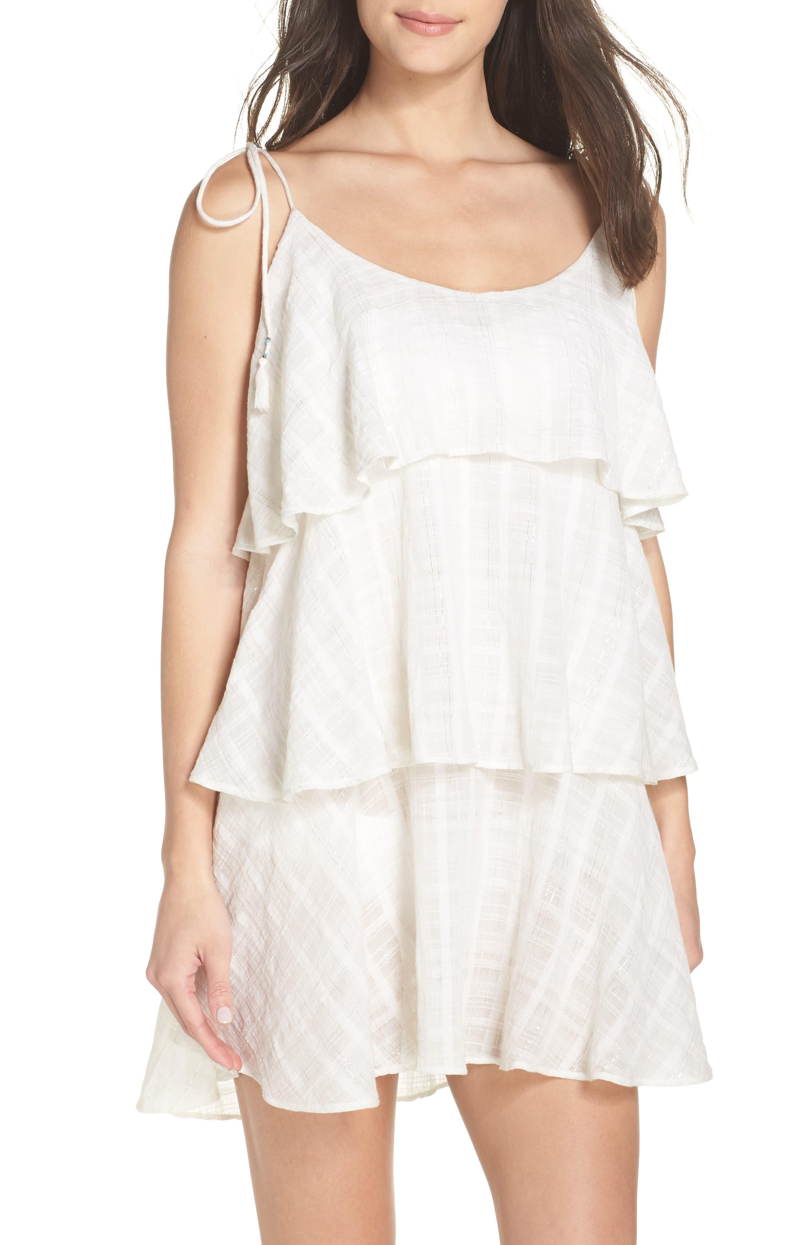 Mariah Ruffled Cover-Up Dress,                             Main thumbnail 1, color,                             WHITE-SILVER