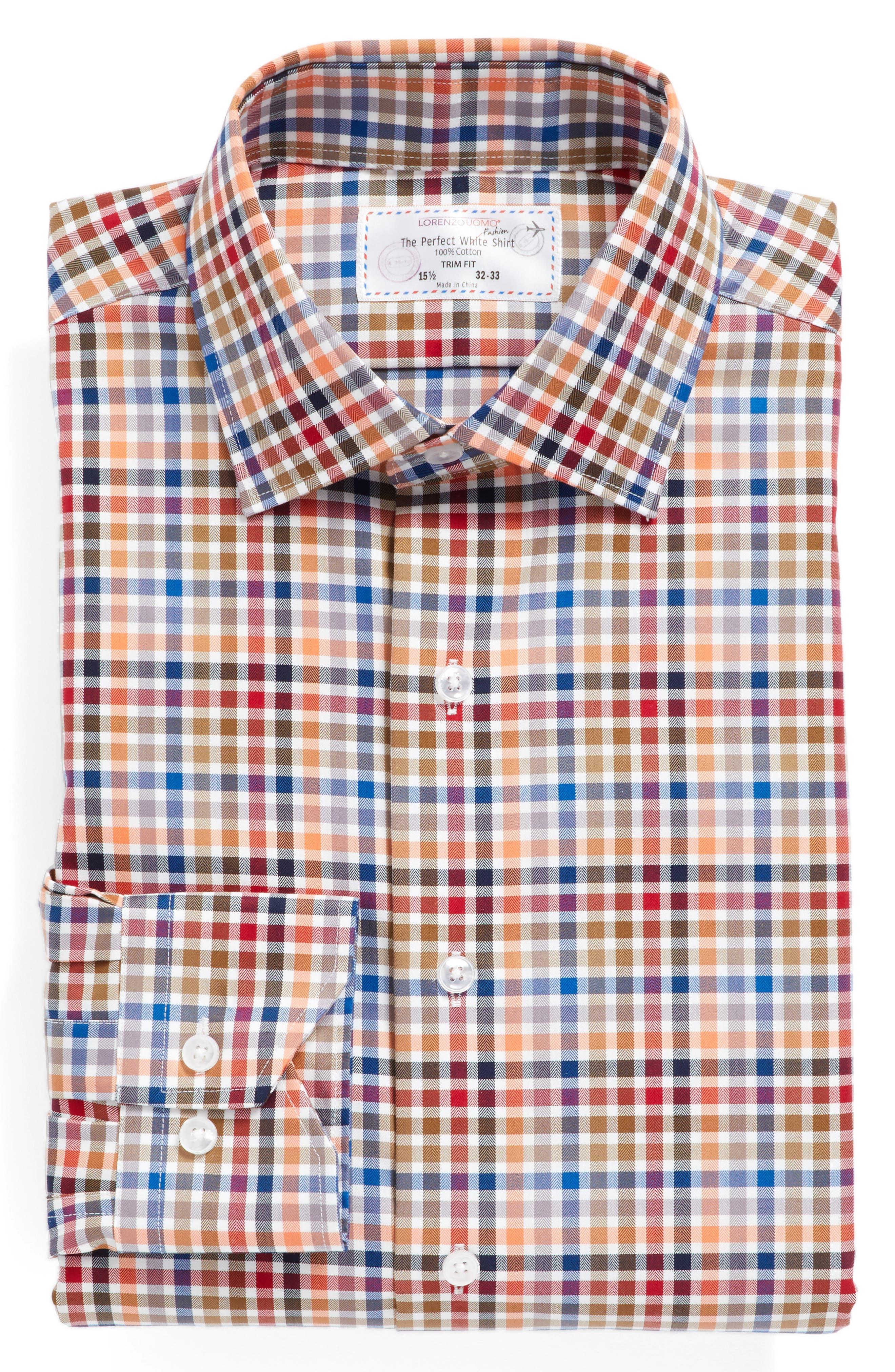 Trim Fit Check Dress Shirt,                             Alternate thumbnail 3, color,                             800