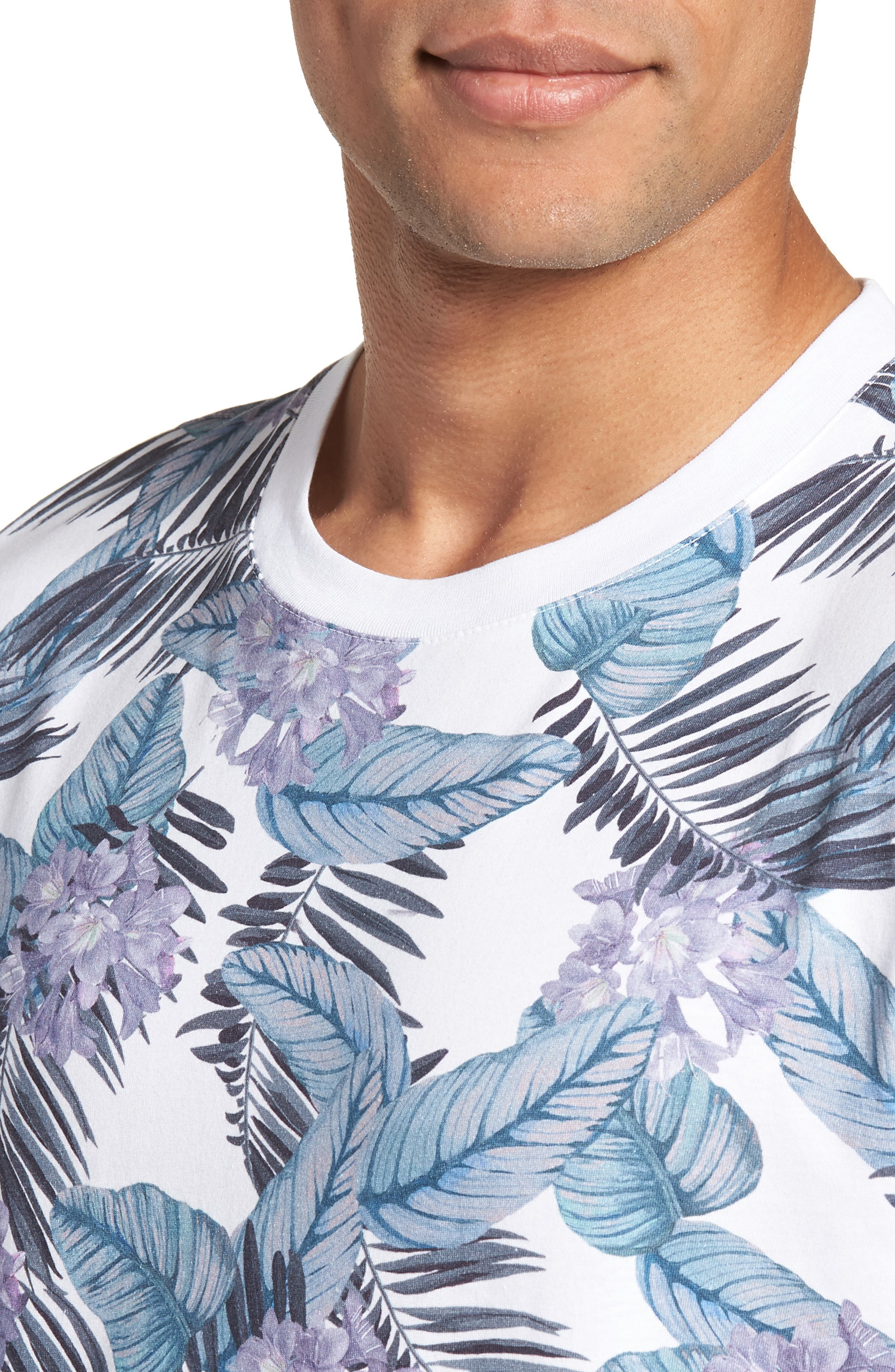 Slim Fit Tinned Floral Graphic T-Shirt,                             Alternate thumbnail 4, color,                             WHITE