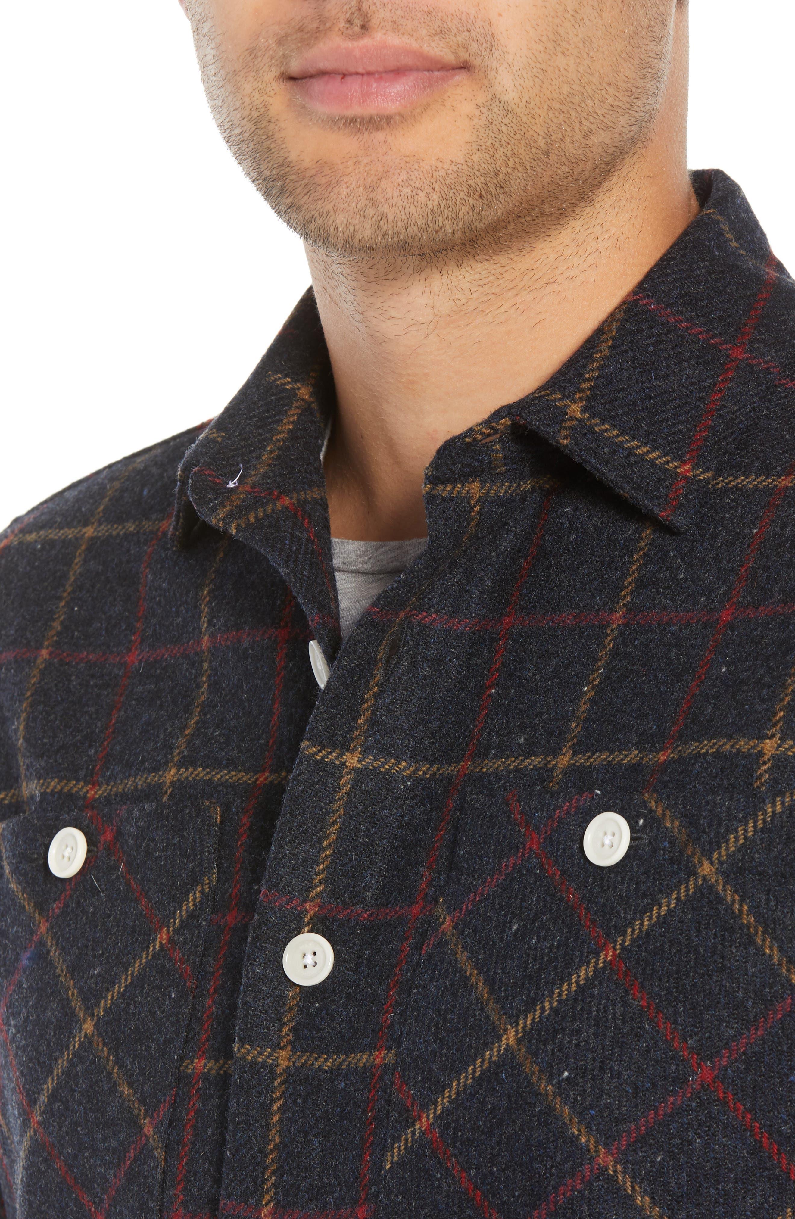 Whiting Tattersall Wool Shirt Jacket,                             Alternate thumbnail 2, color,                             BLACK WOOL CHECK