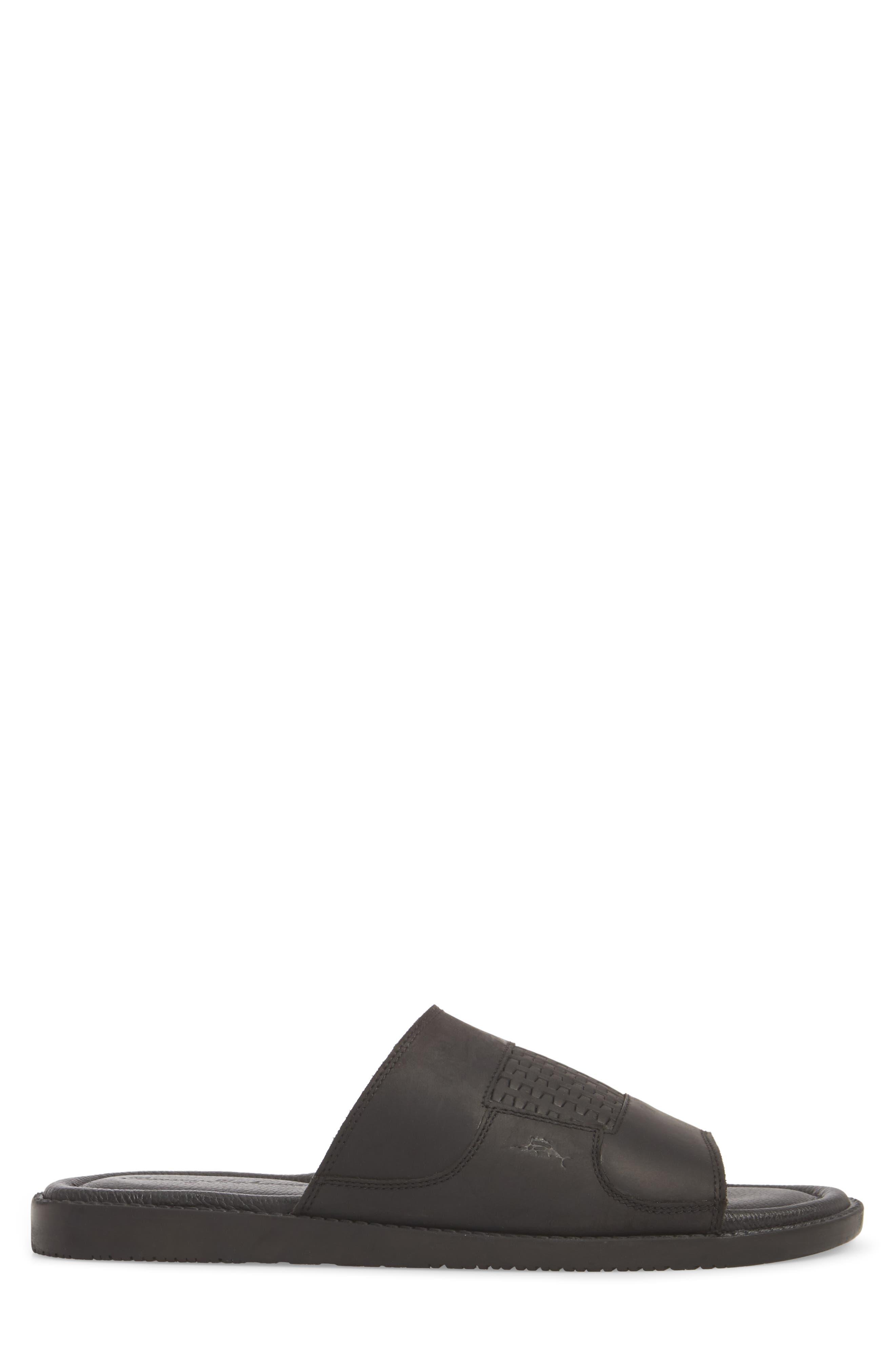 Gennadi Palms Slide Sandal,                             Alternate thumbnail 3, color,                             BLACK LEATHER