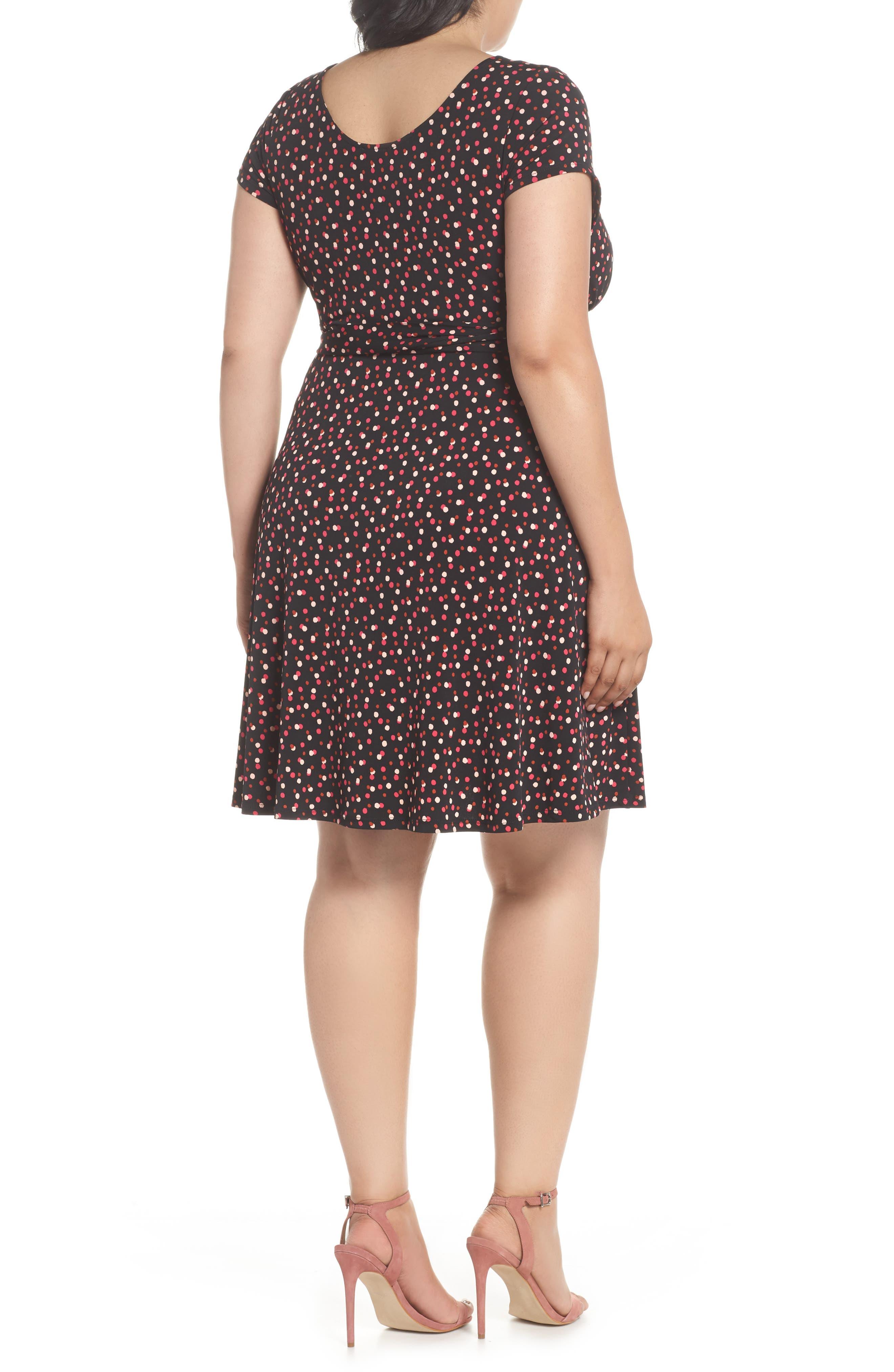 Brittany Print Wrap Tie Dress,                             Alternate thumbnail 2, color,                             TWLIGHT DOT PINK PEACOCK