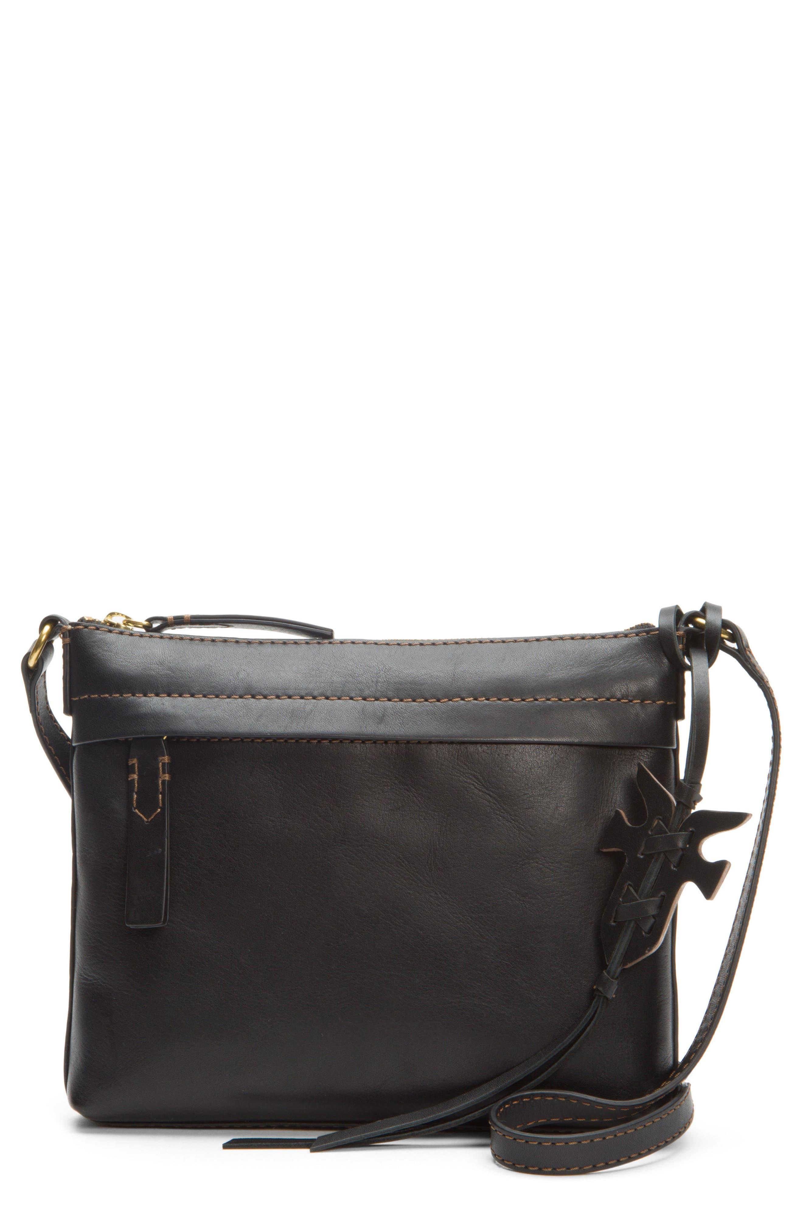 Carson Leather Crossbody Bag,                             Main thumbnail 1, color,                             BLACK