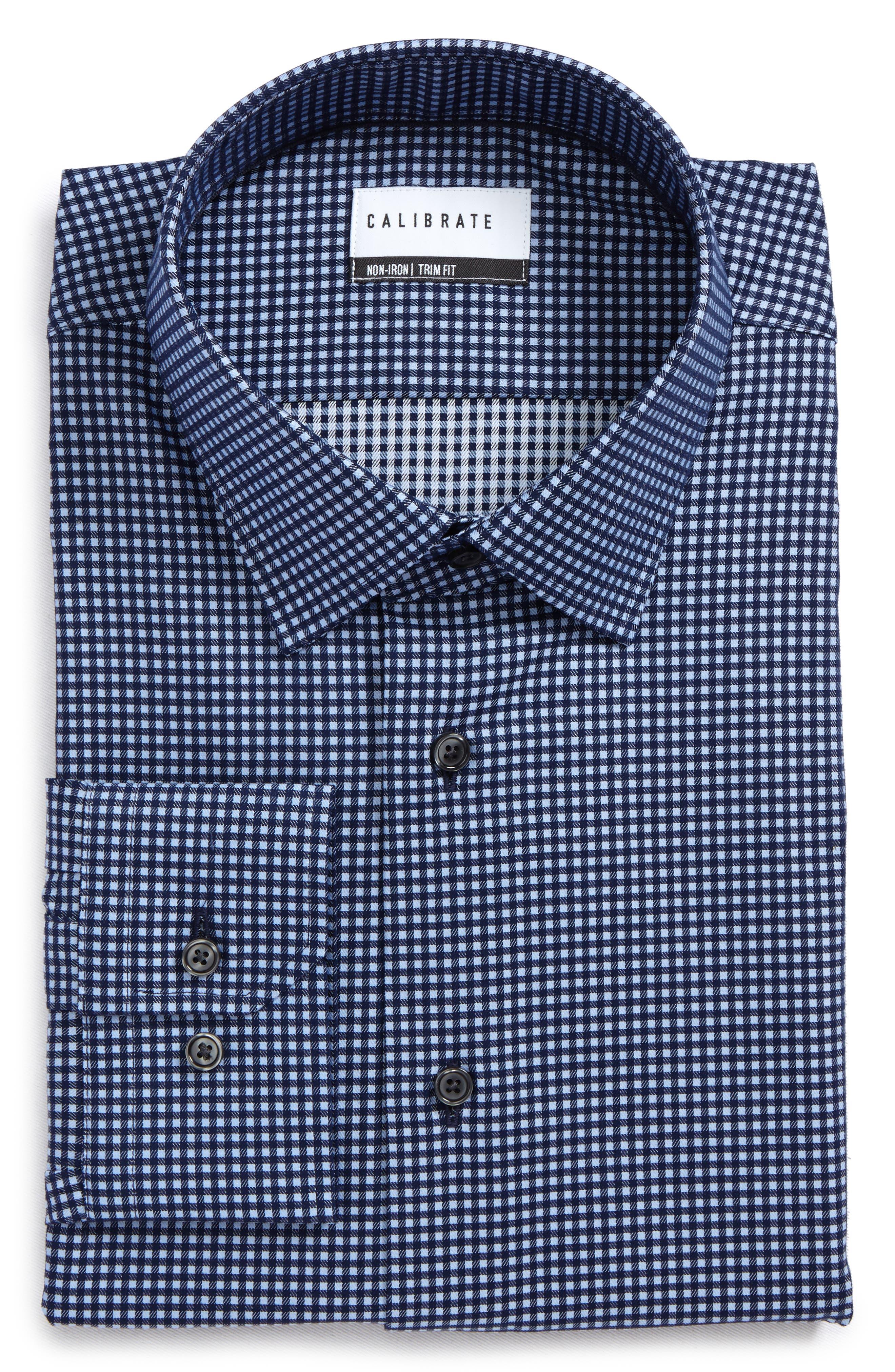 Trim Fit Non-Iron Check Dress Shirt,                             Main thumbnail 1, color,