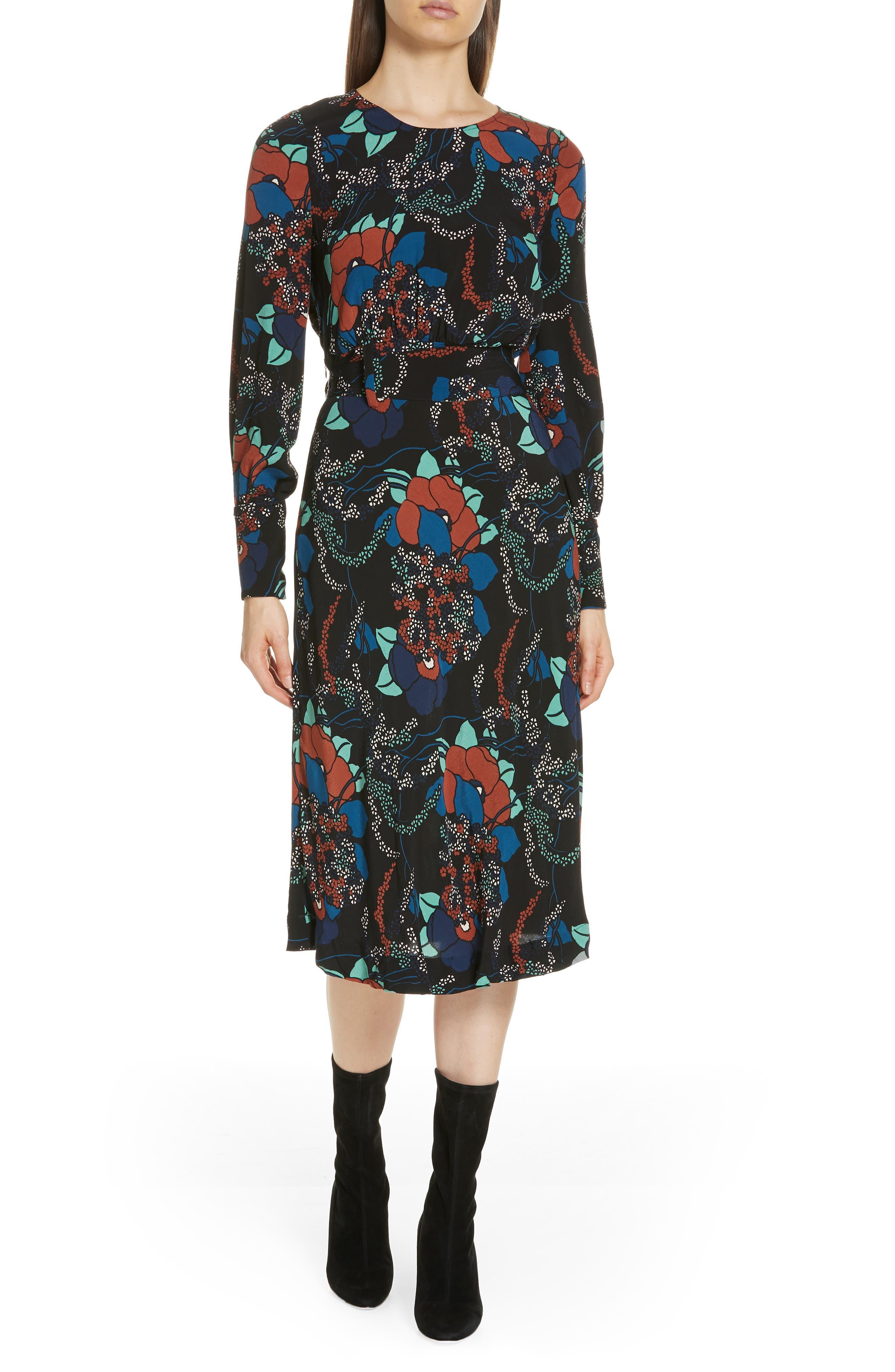 Abelia Floral Plunge Back Silk Dress,                         Main,                         color, NOIR