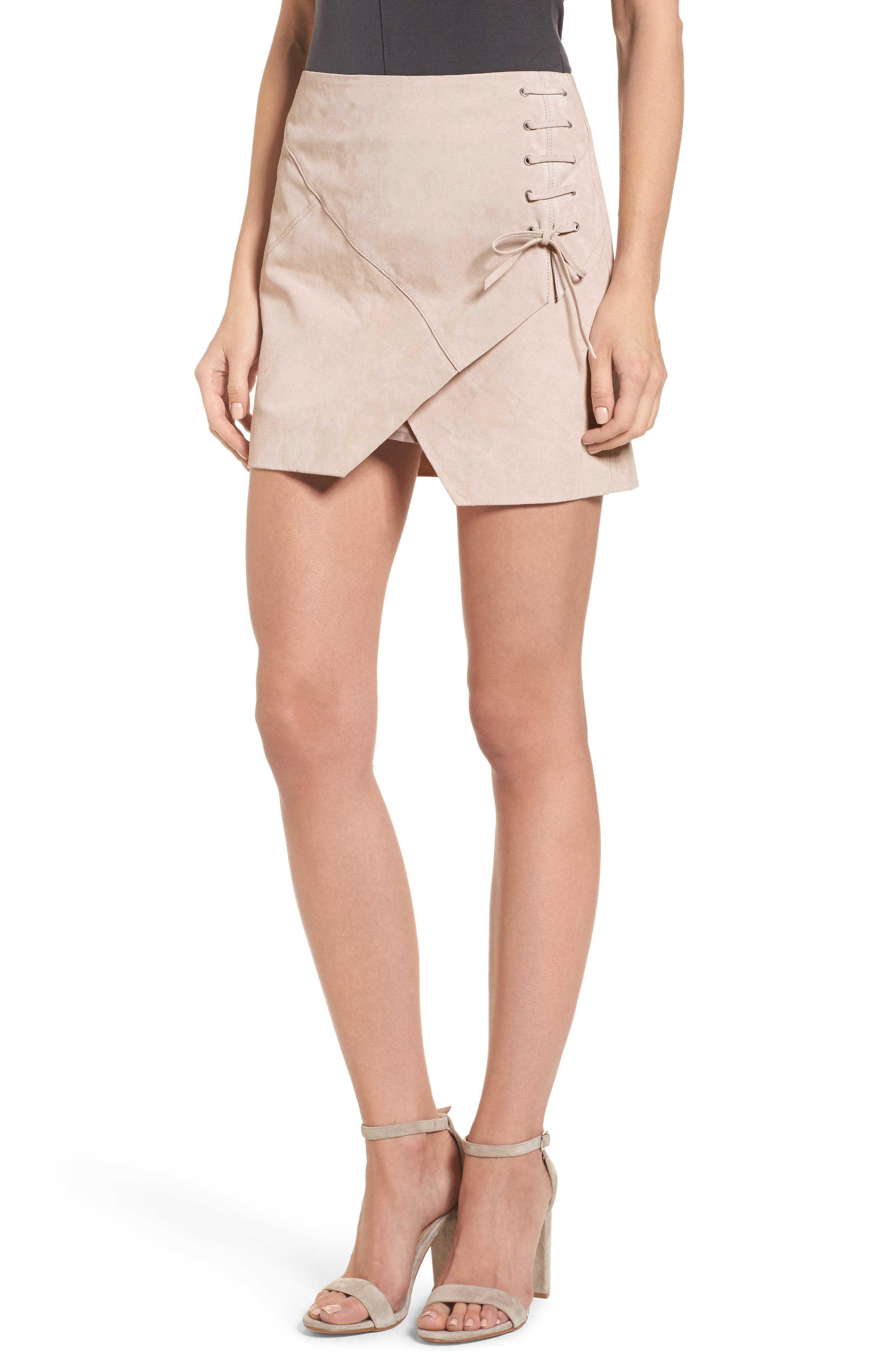 Lace-Up Suede Miniskirt,                         Main,                         color, 250