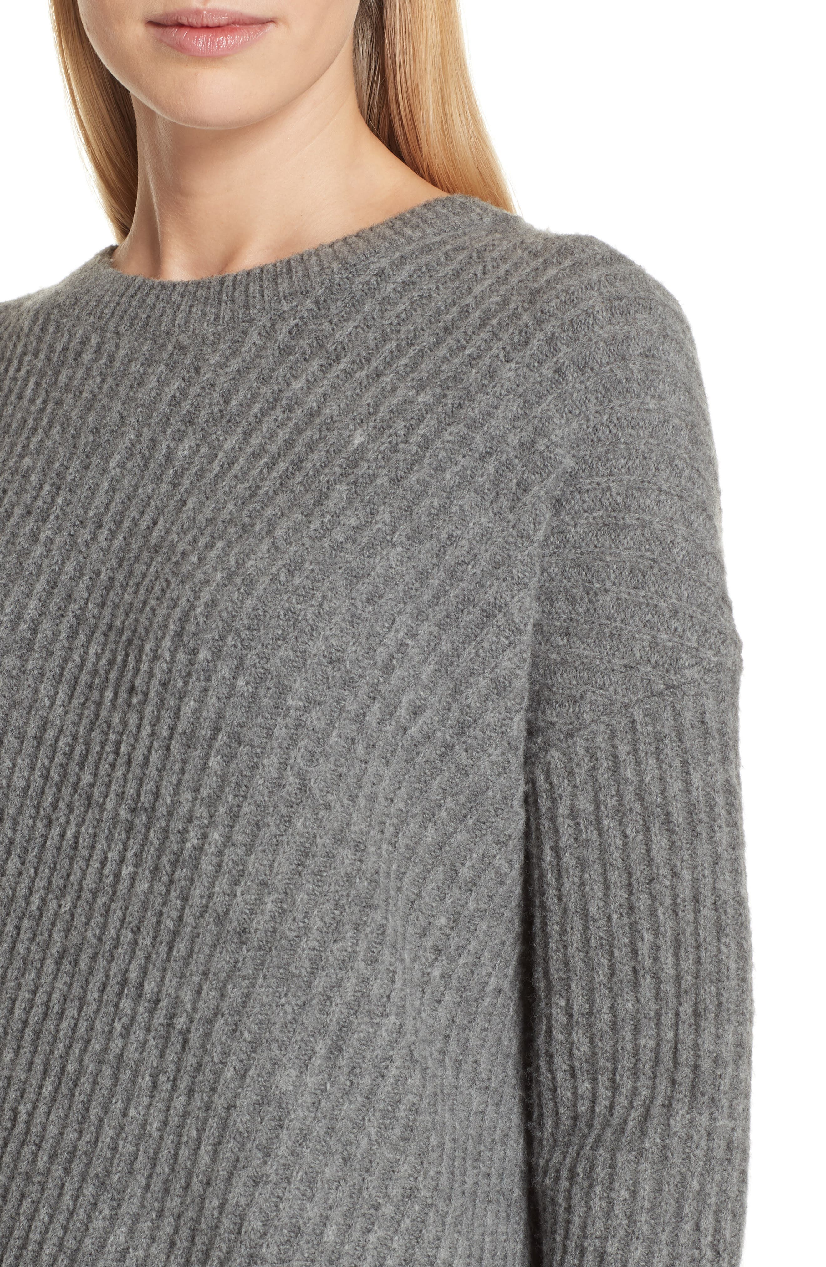 Side Slit Ribbed Sweater,                             Alternate thumbnail 4, color,                             MID GREY