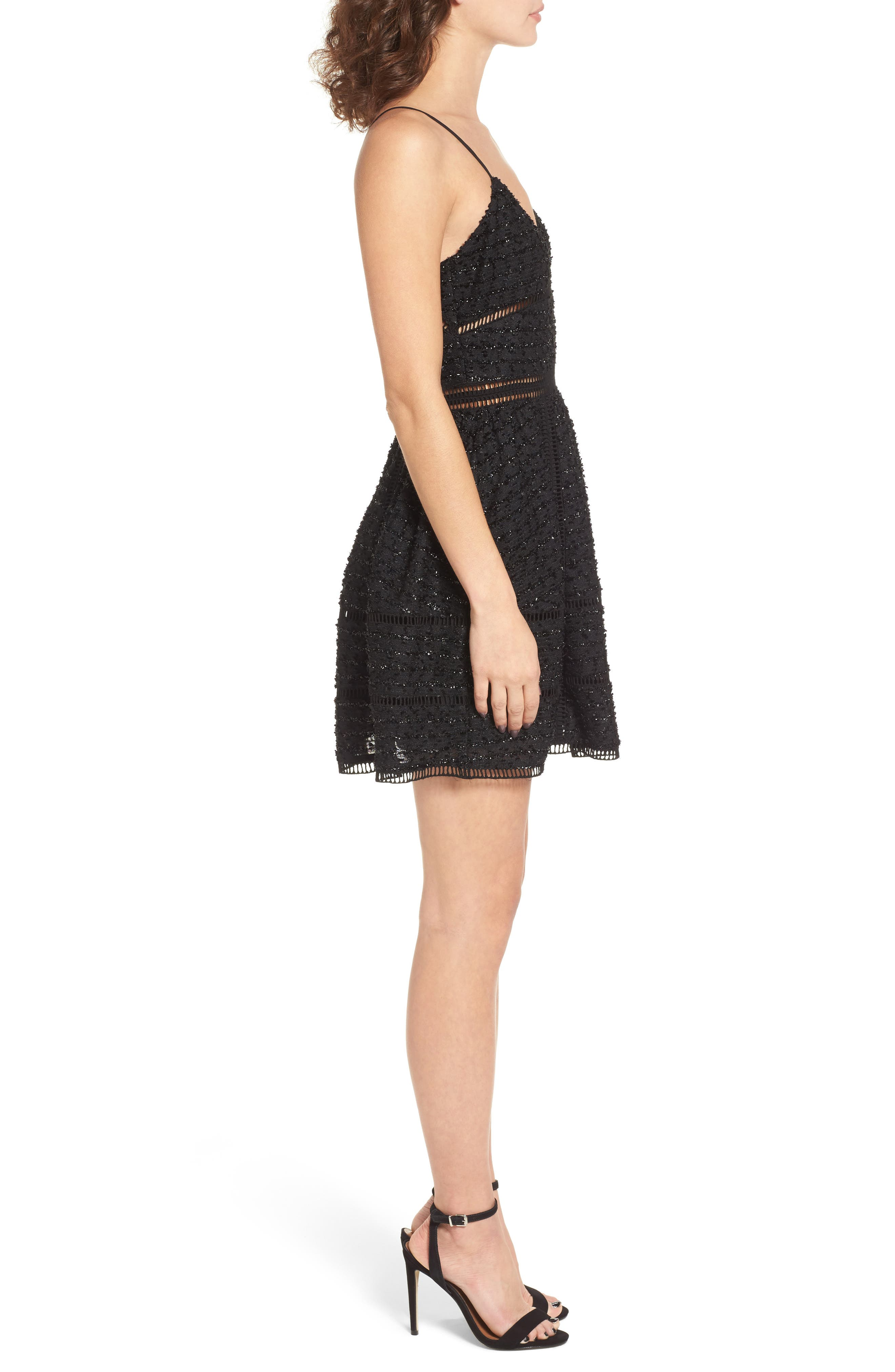 Miley Beaded Fit & Flare Dress,                             Alternate thumbnail 3, color,                             001