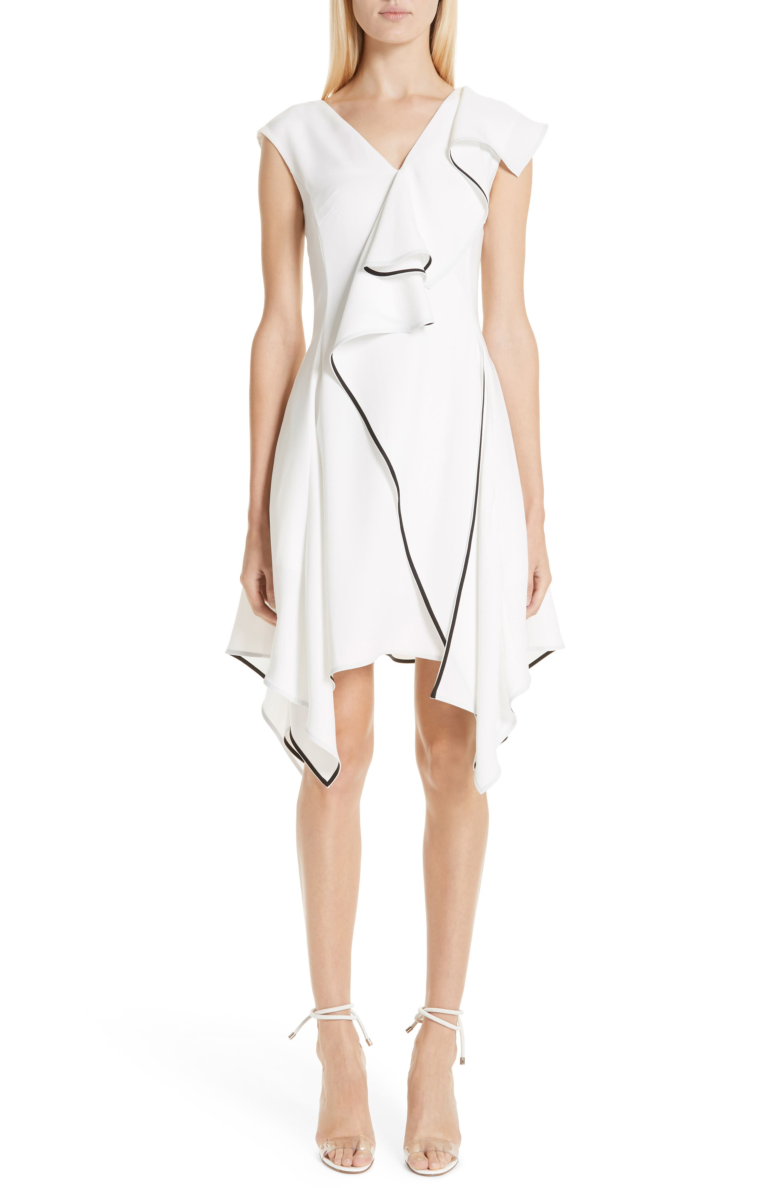 Deconstructed Ruffle Dress,                             Main thumbnail 1, color,                             WHITE