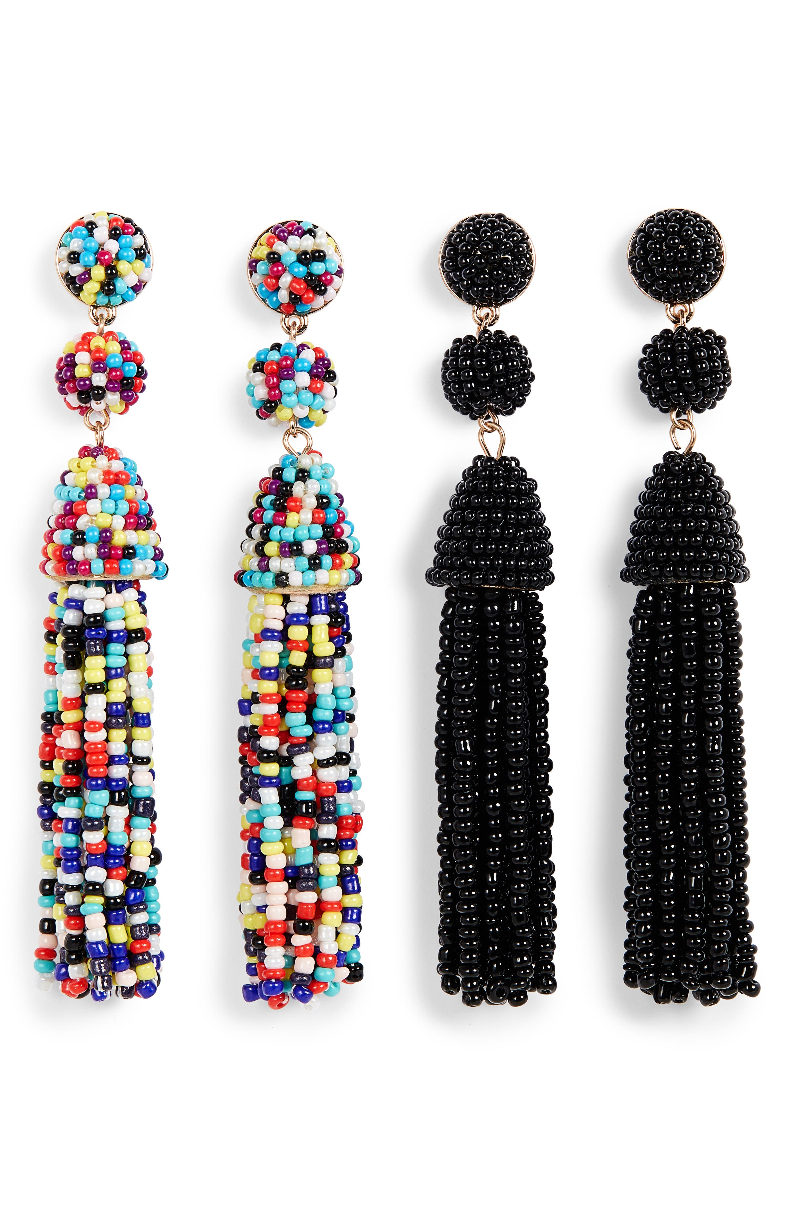 Granita 2-Pack Beaded Tassel Earrings,                             Main thumbnail 1, color,                             BLACK/ RAINBOW