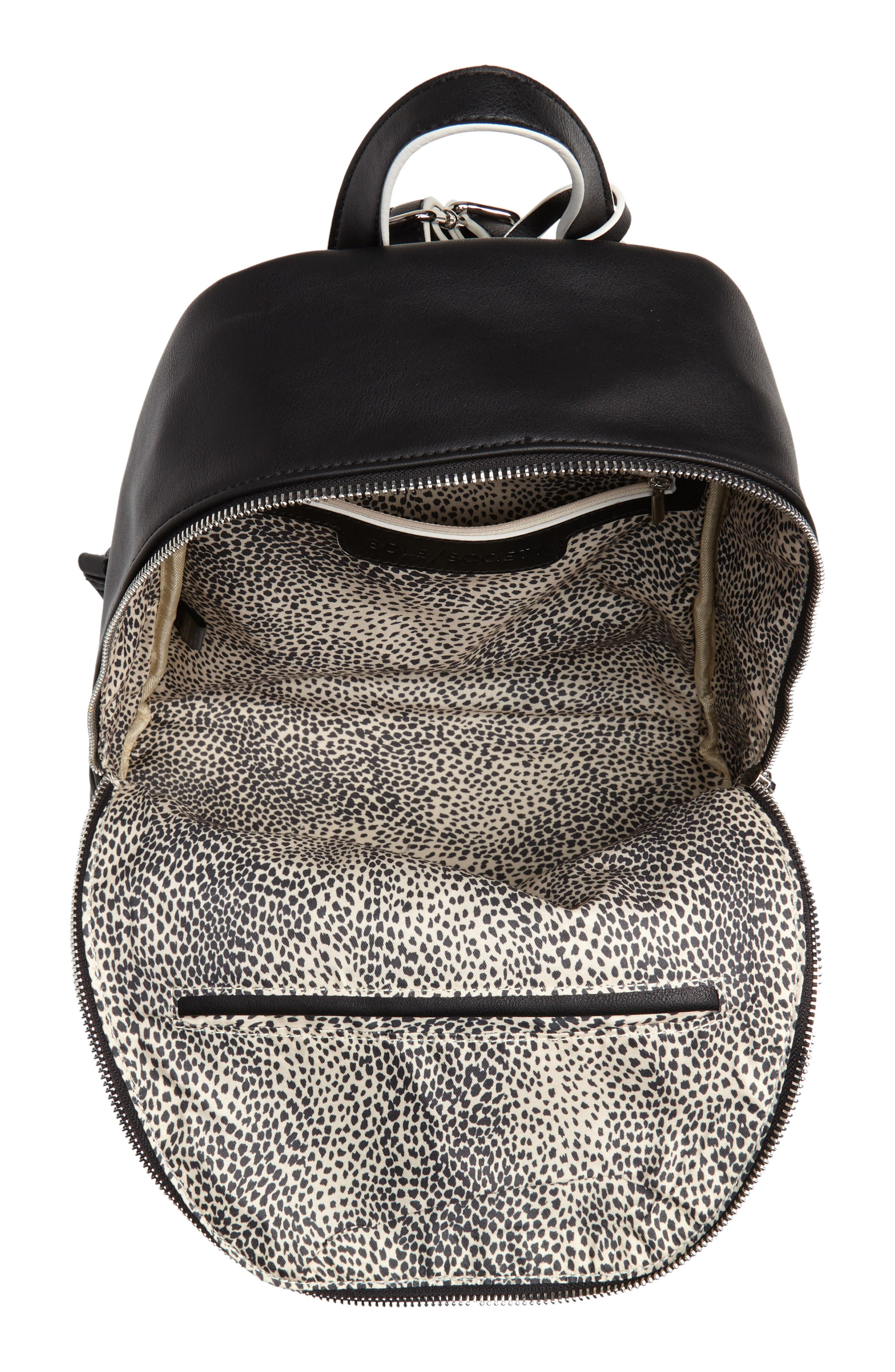 SOLE SOCIETY,                             Haili Faux Leather Backpack,                             Alternate thumbnail 4, color,                             001