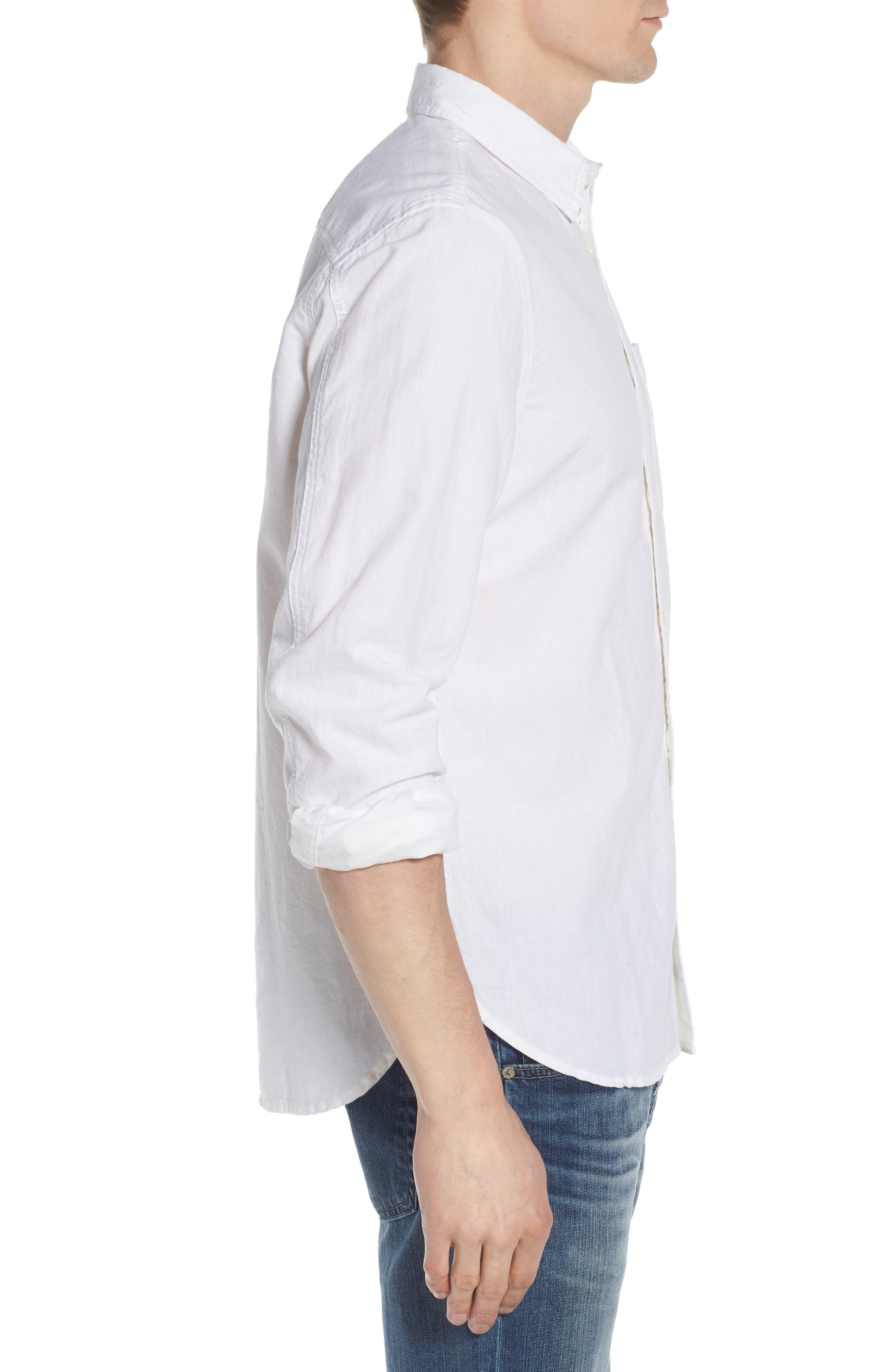 Colton Regular Fit Cotton & Linen Sport Shirt,                             Alternate thumbnail 3, color,                             TRUE WHITE