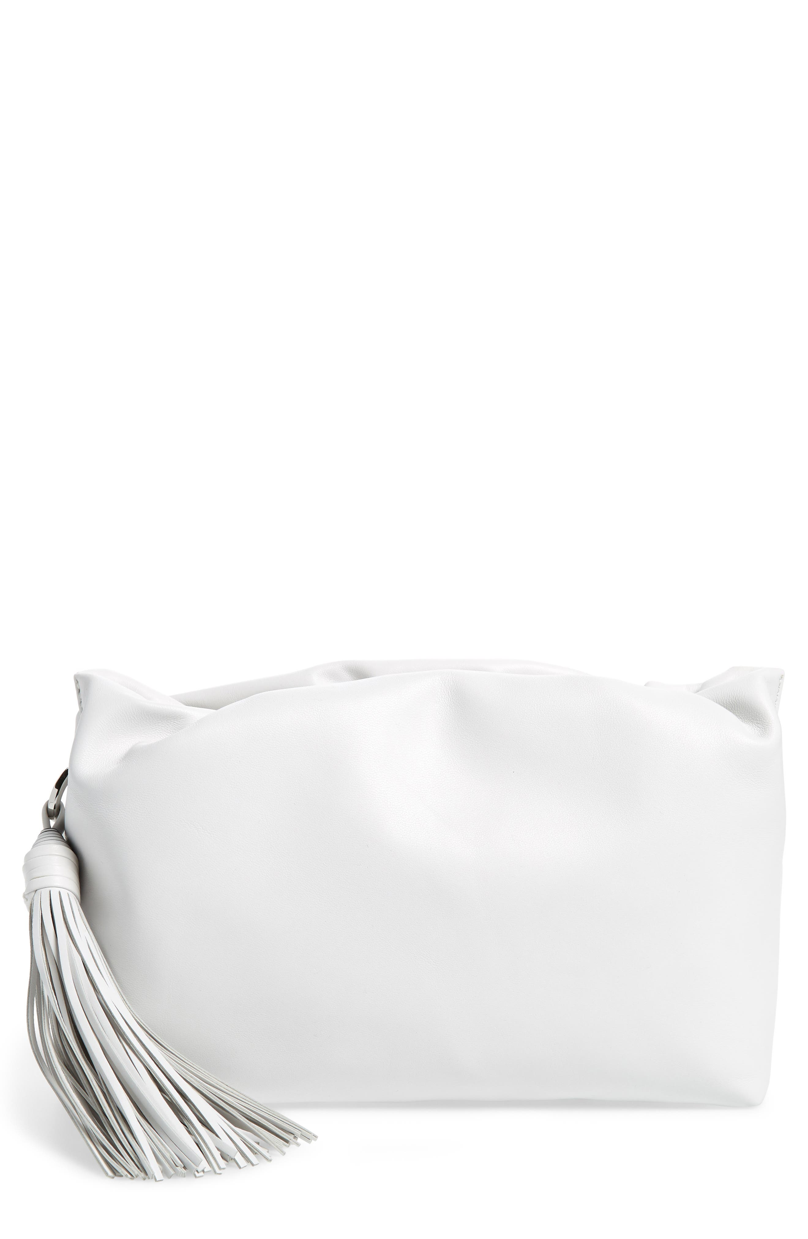 Shop Rebecca Minkoff Ruby Ruched Leather Clutch White In Optic Longchamp Neo Sz Small