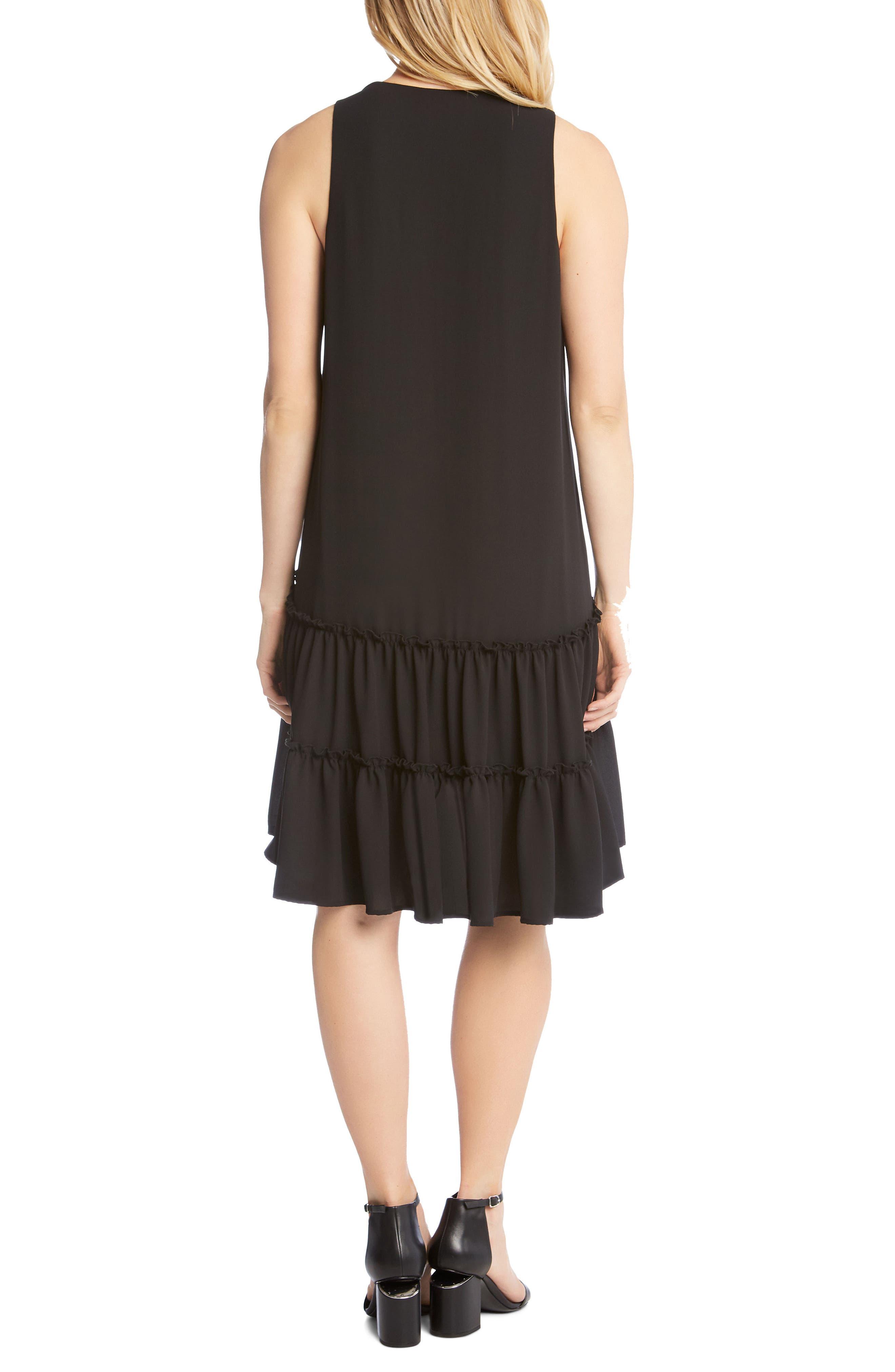 Double Ruffle Hem Crepe Dress,                             Alternate thumbnail 2, color,                             001