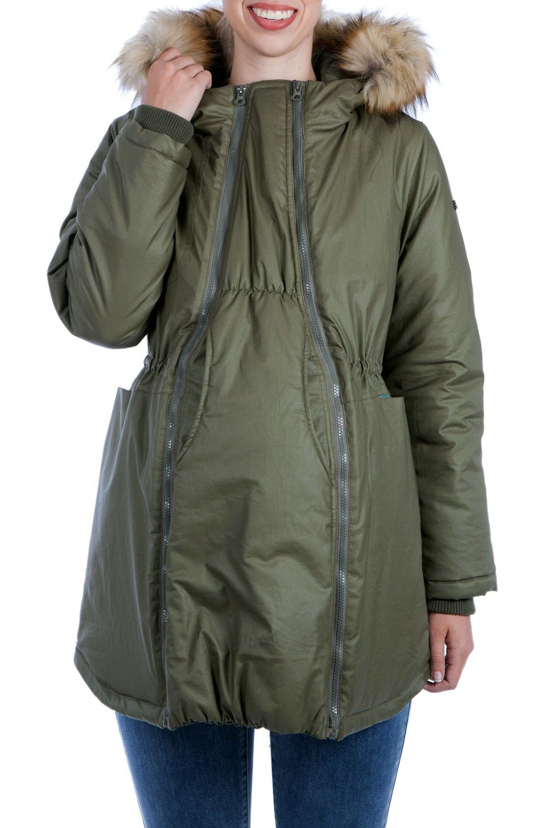 Sofia Waxed 3-in-1 Maternity/Nursing Jacket with Faux Fur Trim,                             Main thumbnail 1, color,                             KHAKI GREEN