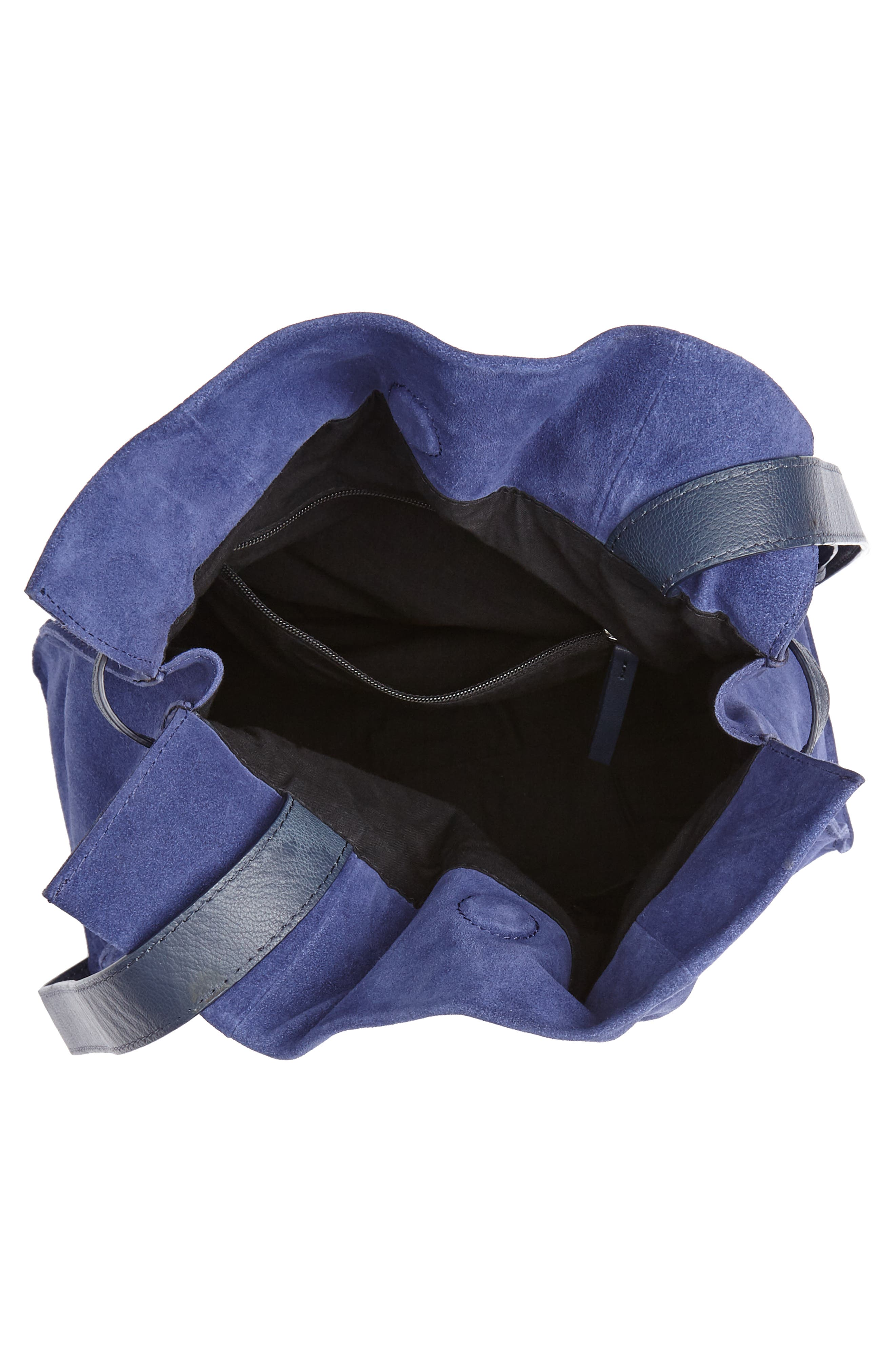 Pull String Faux Leather Bucket Bag,                             Alternate thumbnail 4, color,                             BLUE