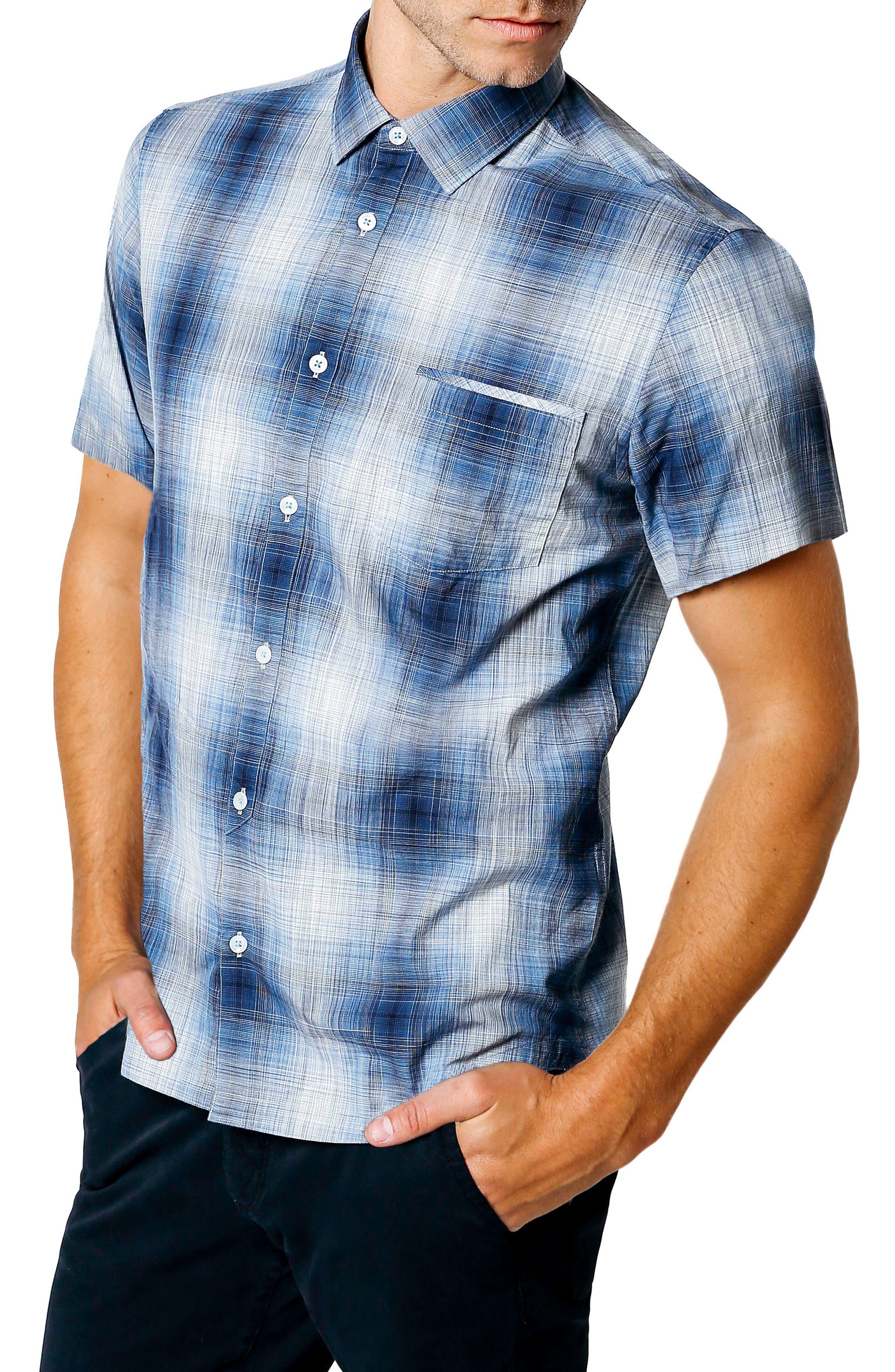 Space Plaid Trim Fit Sport Shirt,                             Alternate thumbnail 3, color,                             410