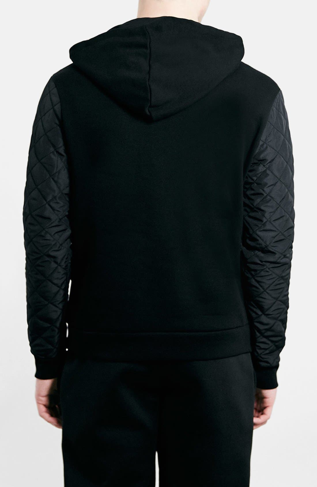 Black Quilted Hoodie,                             Alternate thumbnail 3, color,                             001