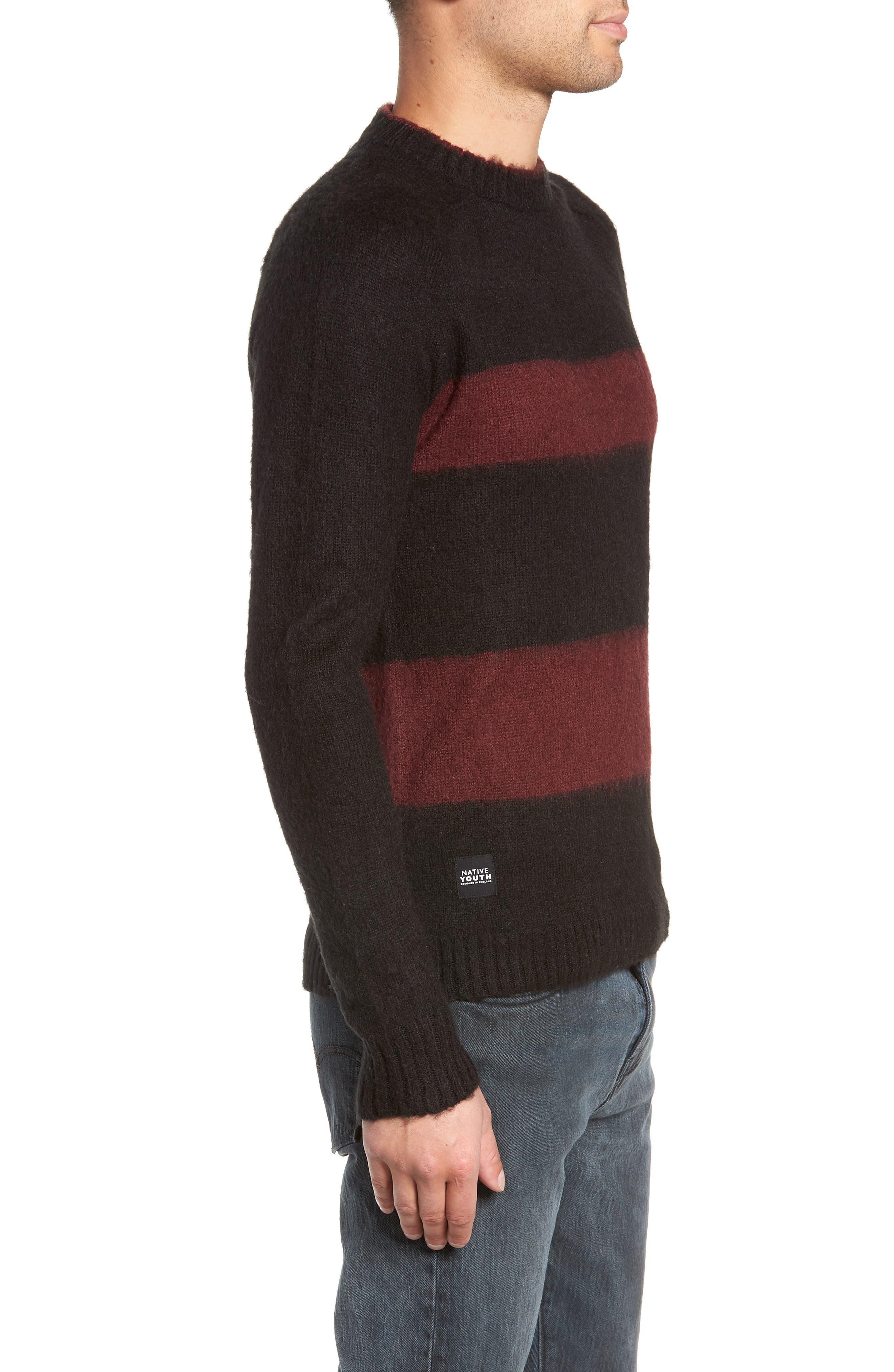 Colorblock Sweater,                             Alternate thumbnail 3, color,                             BLACK