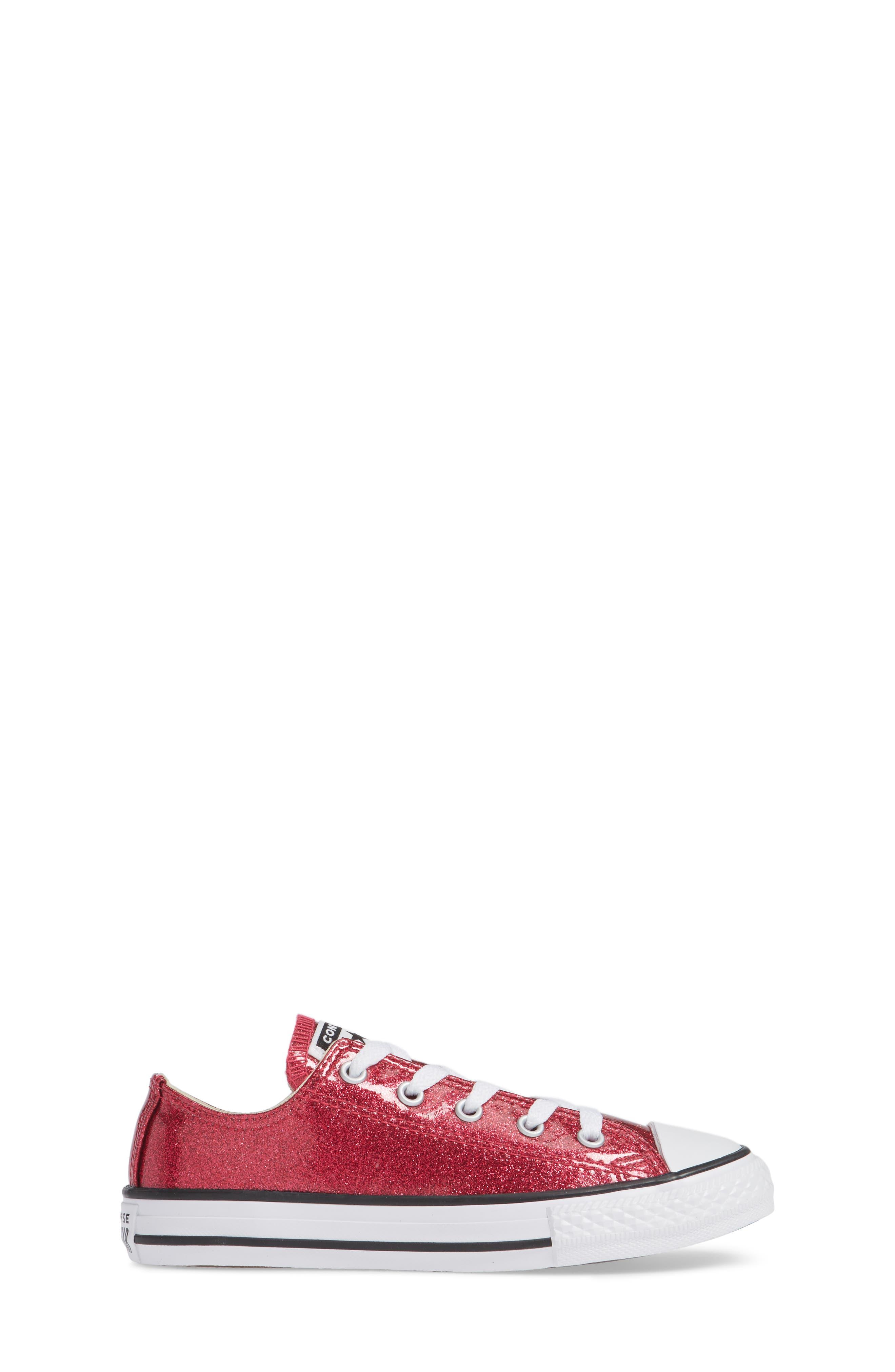 All Star<sup>®</sup> Seasonal Glitter OX Low Top Sneaker,                             Alternate thumbnail 3, color,                             PINK POP
