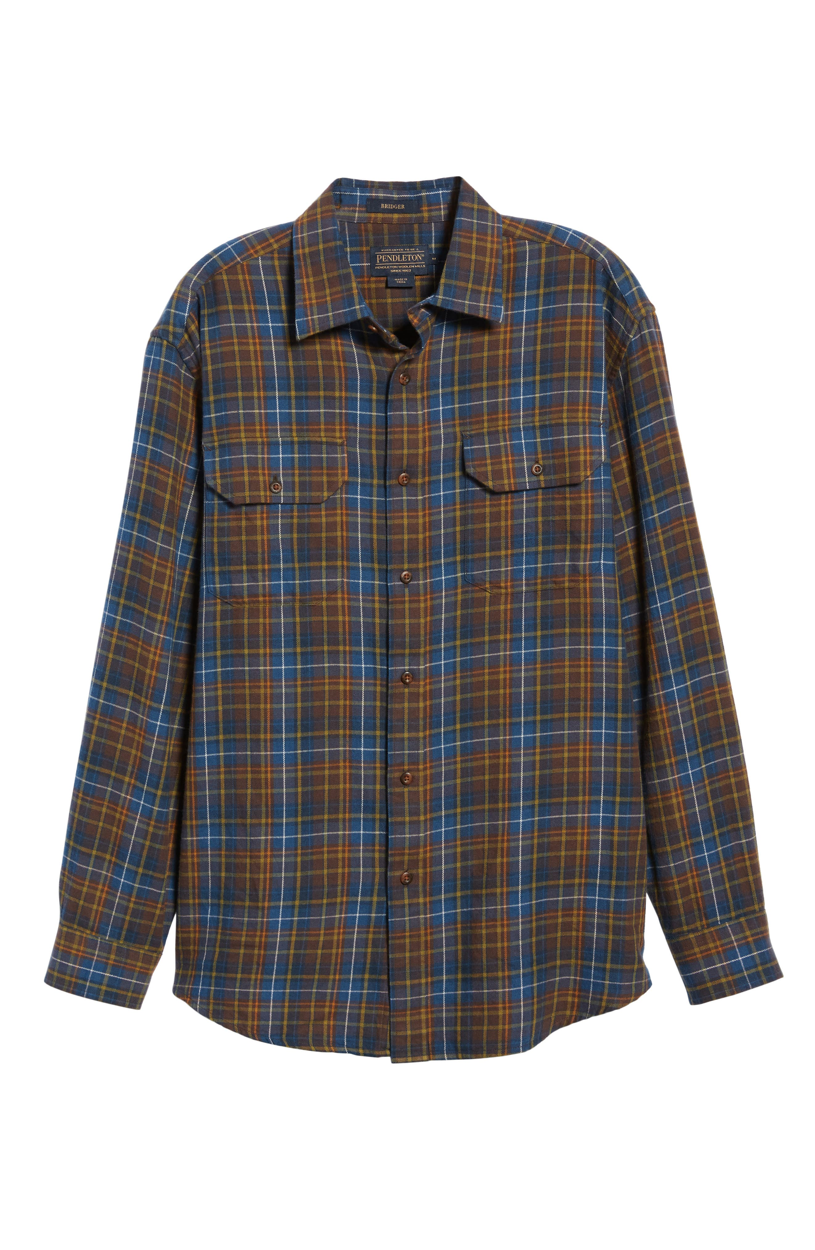 Bridger Plaid Twill Shirt,                             Alternate thumbnail 5, color,                             BLUE/ BROWN/ GREEN PLAID