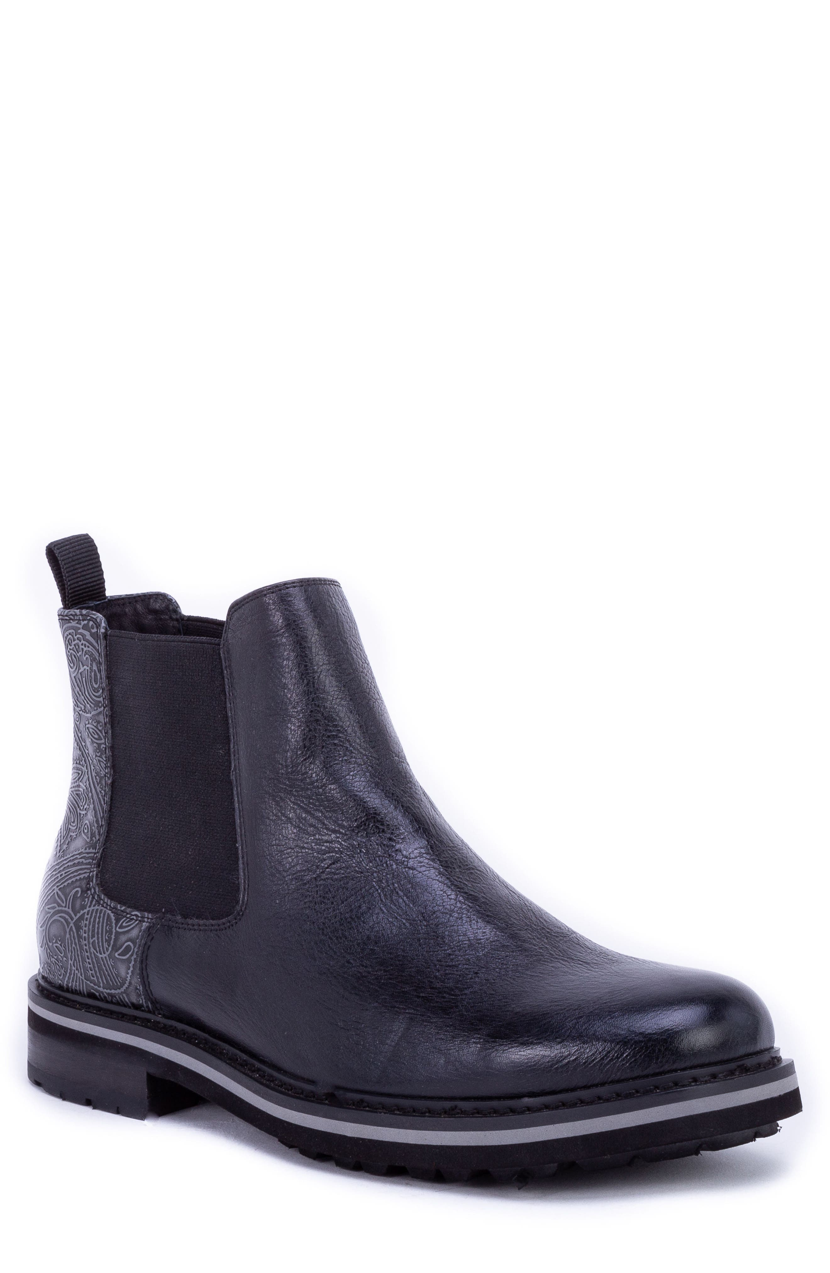 Yates Textured Chelsea Boot,                             Main thumbnail 1, color,                             BLACK LEATHER