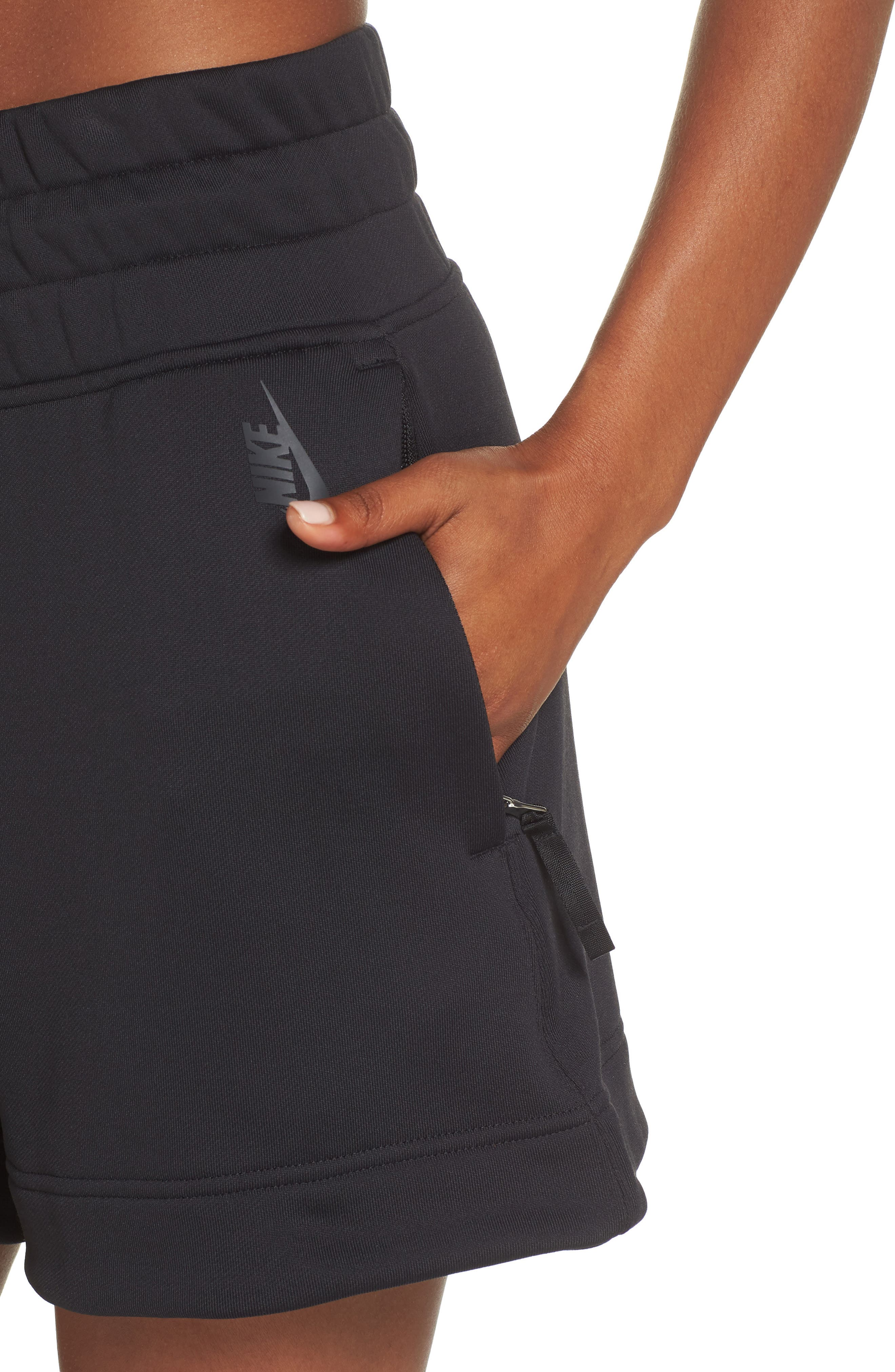 NikeLab Collection Women's Fleece Shorts,                             Alternate thumbnail 4, color,                             BLACK/ BLACK
