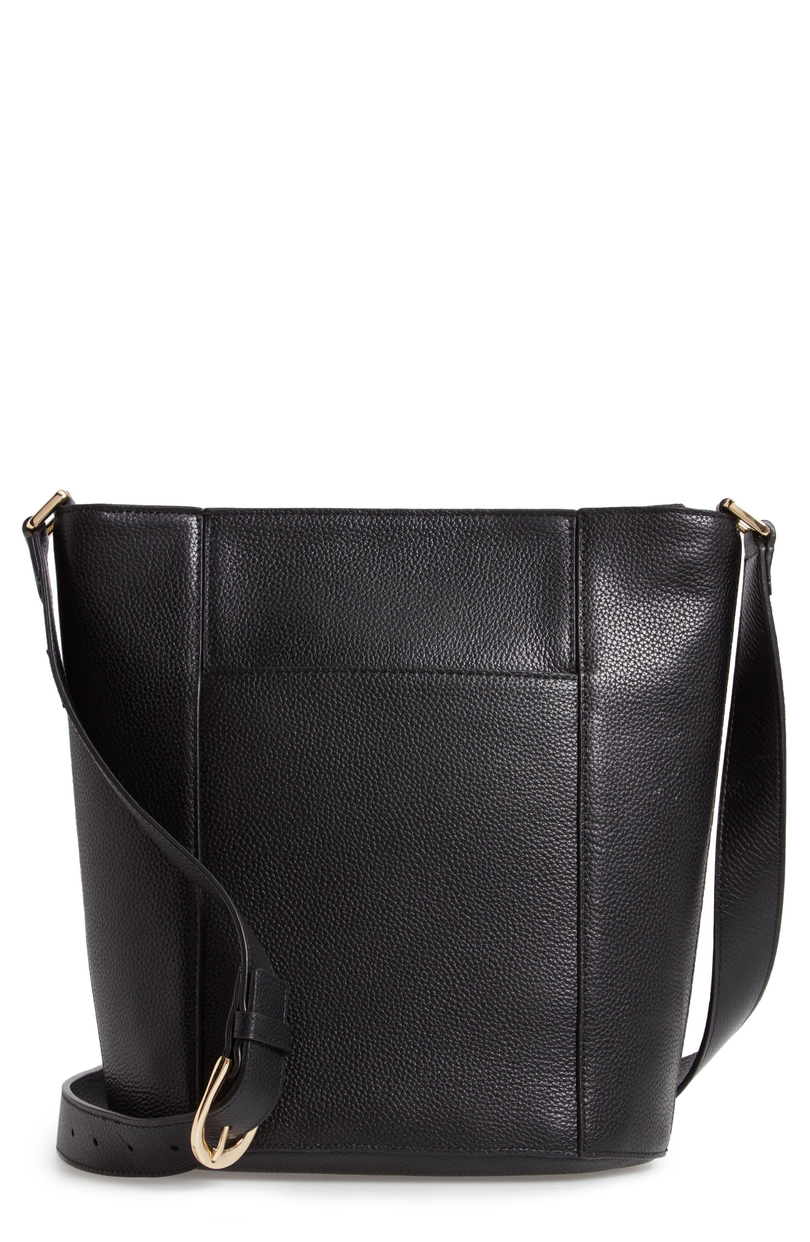 Loraine Leather Bucket Bag,                             Main thumbnail 1, color,                             BLACK