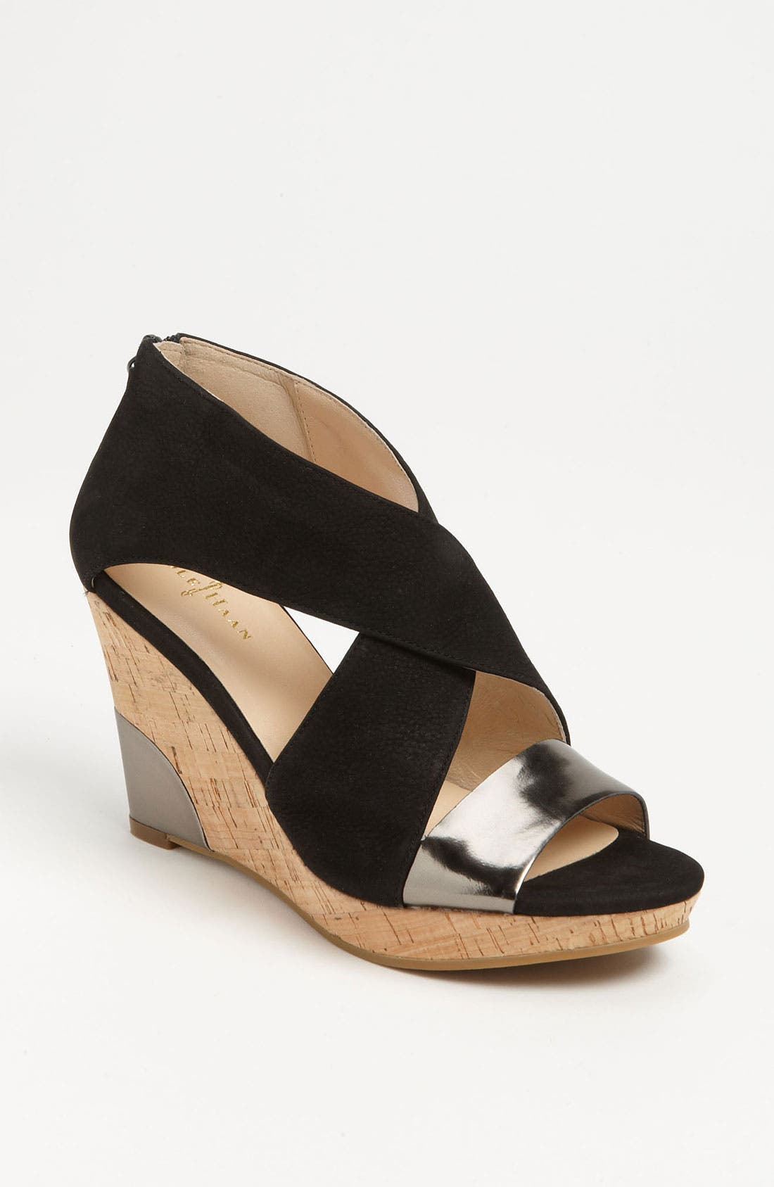 COLE HAAN,                             'Air Irving' Wedge Sandal,                             Main thumbnail 1, color,                             001