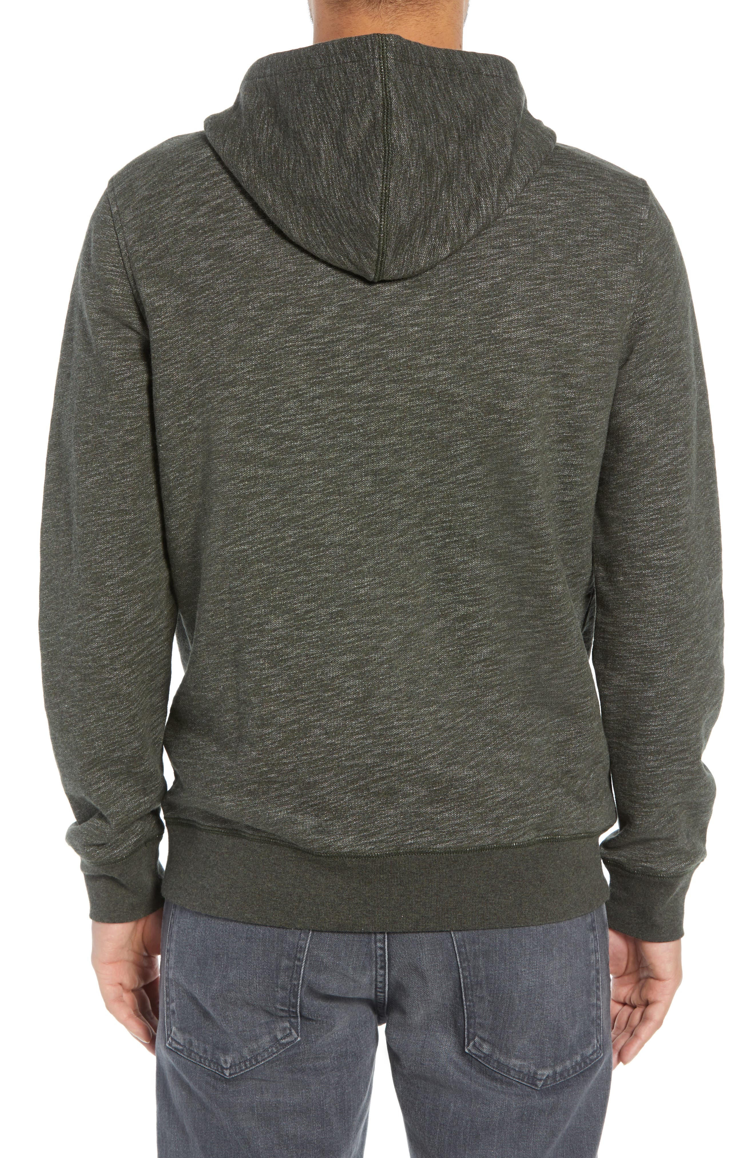 Regular Fit French Terry Pullover Hoodie,                             Alternate thumbnail 2, color,                             OLIVE DARK HEATHER