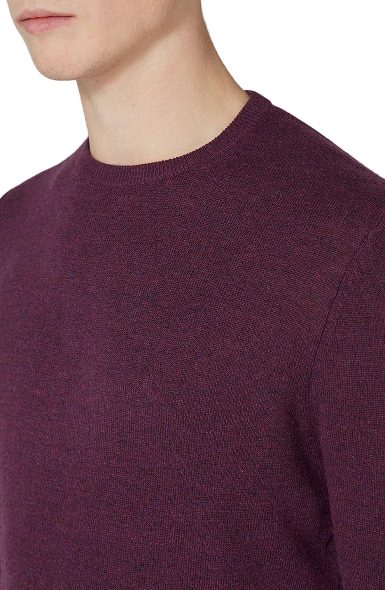 Crewneck Sweater,                             Alternate thumbnail 3, color,                             BURGUNDY