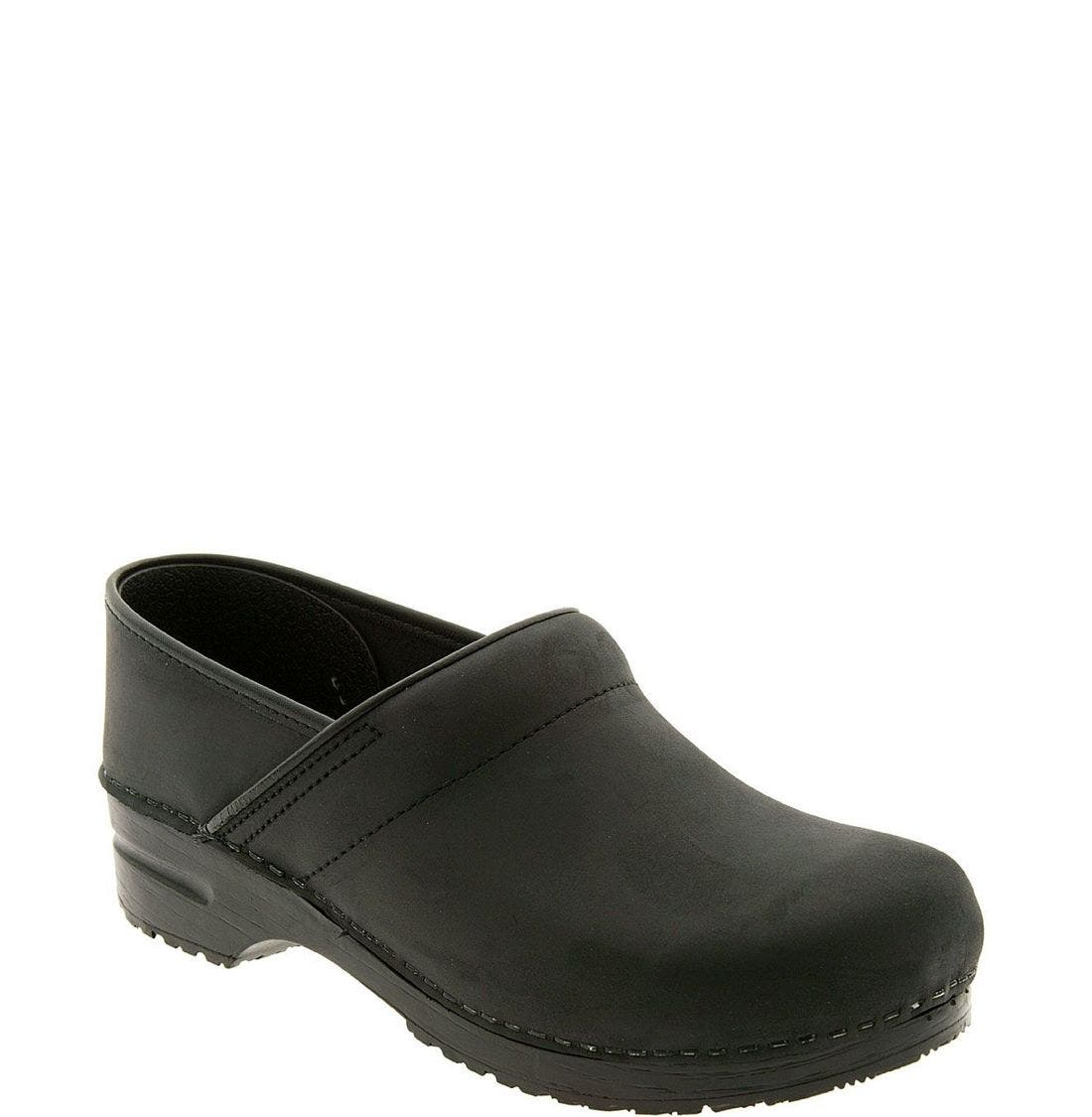 'Professional' Oiled Leather Clog,                             Main thumbnail 1, color,                             BLACK OILED