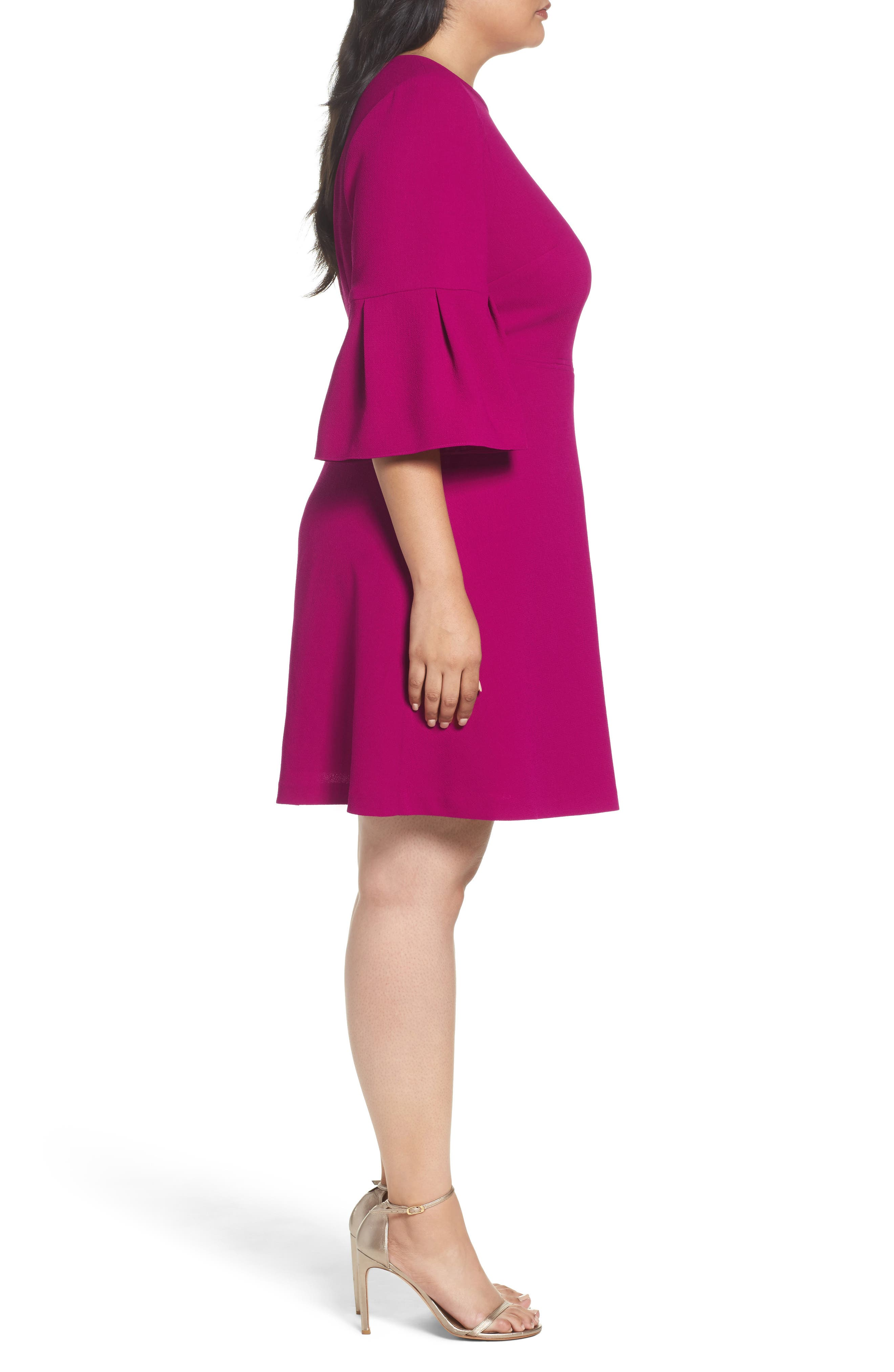 Bell Sleeve Fit & Flare Dress,                             Alternate thumbnail 3, color,                             678