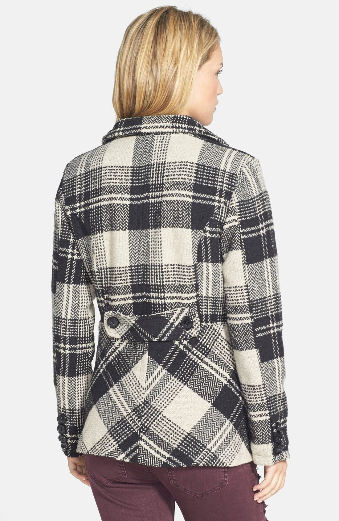 Plaid Double Breasted Peacoat,                             Alternate thumbnail 3, color,                             250