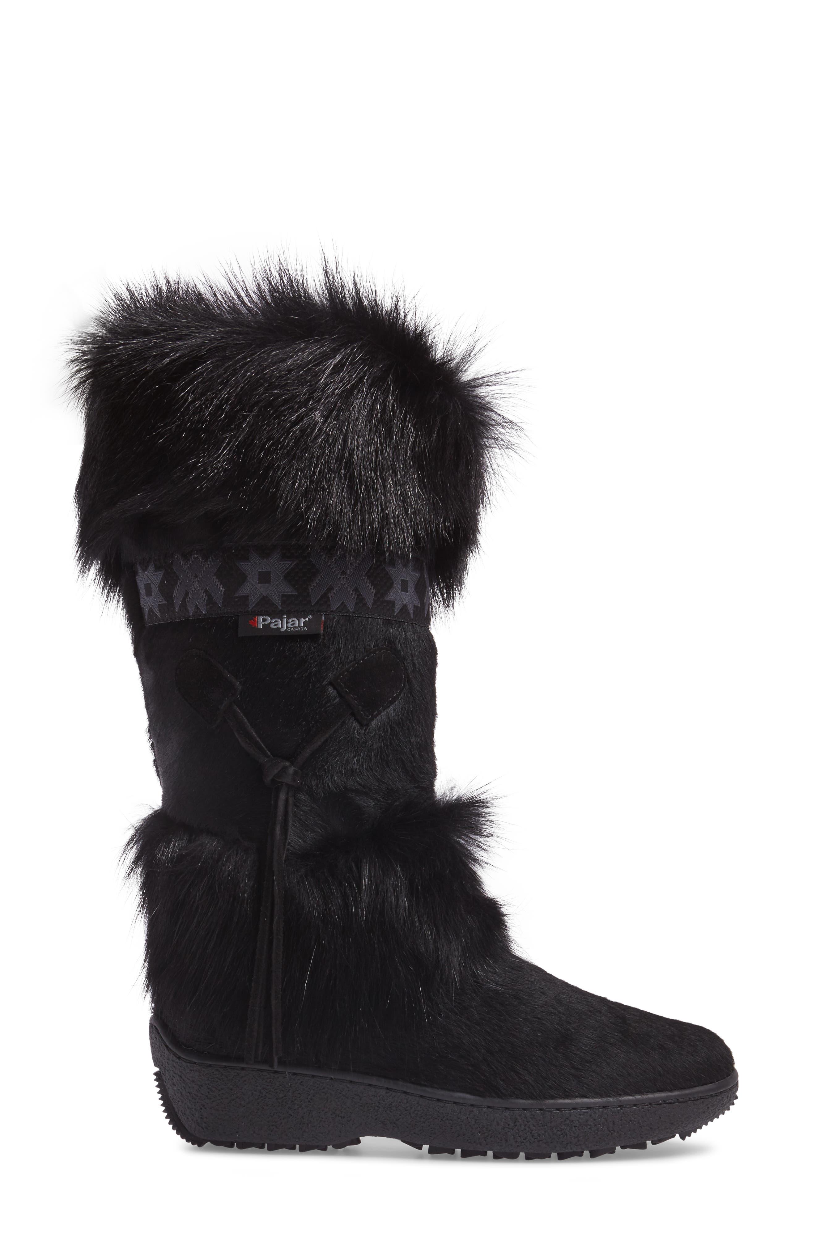 Laura Genuine Goat Fur Waterproof Boot,                             Alternate thumbnail 3, color,                             001