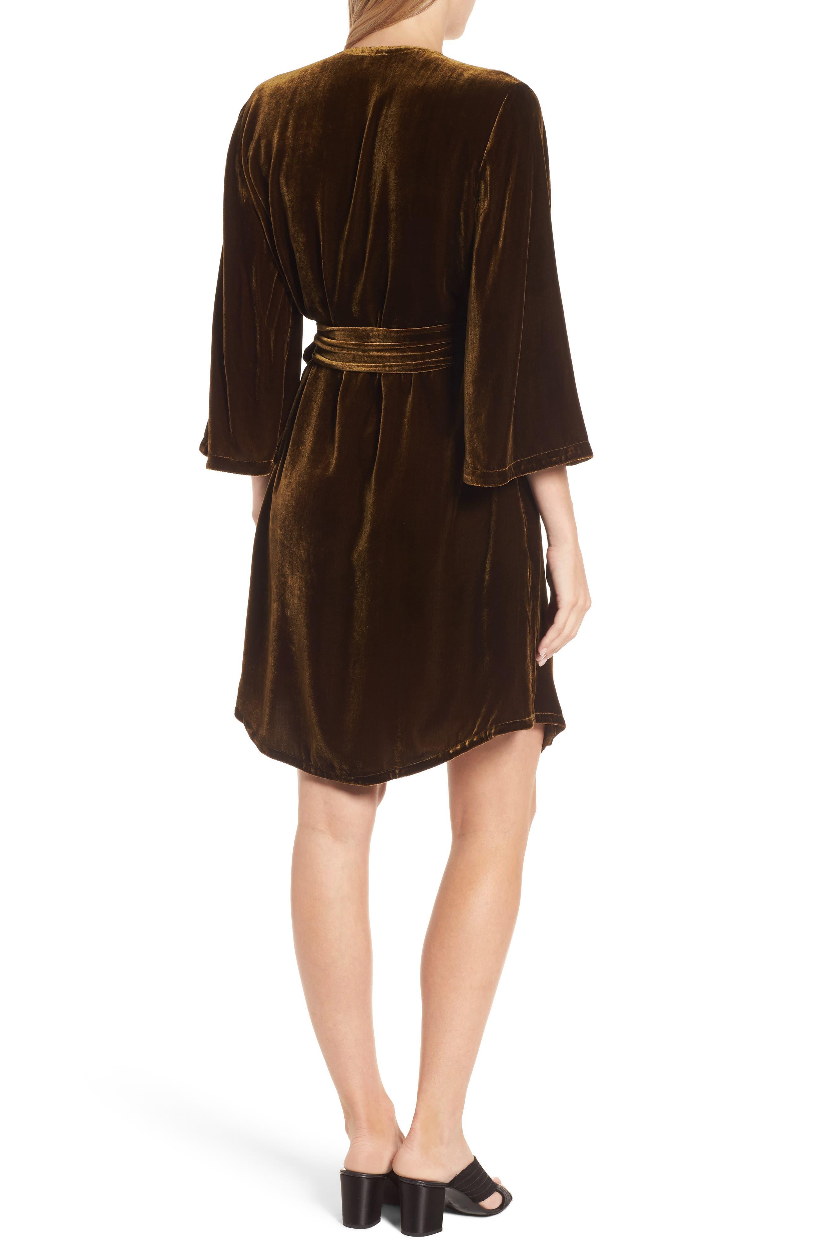 Velvet Wrap Dress,                             Alternate thumbnail 5, color,