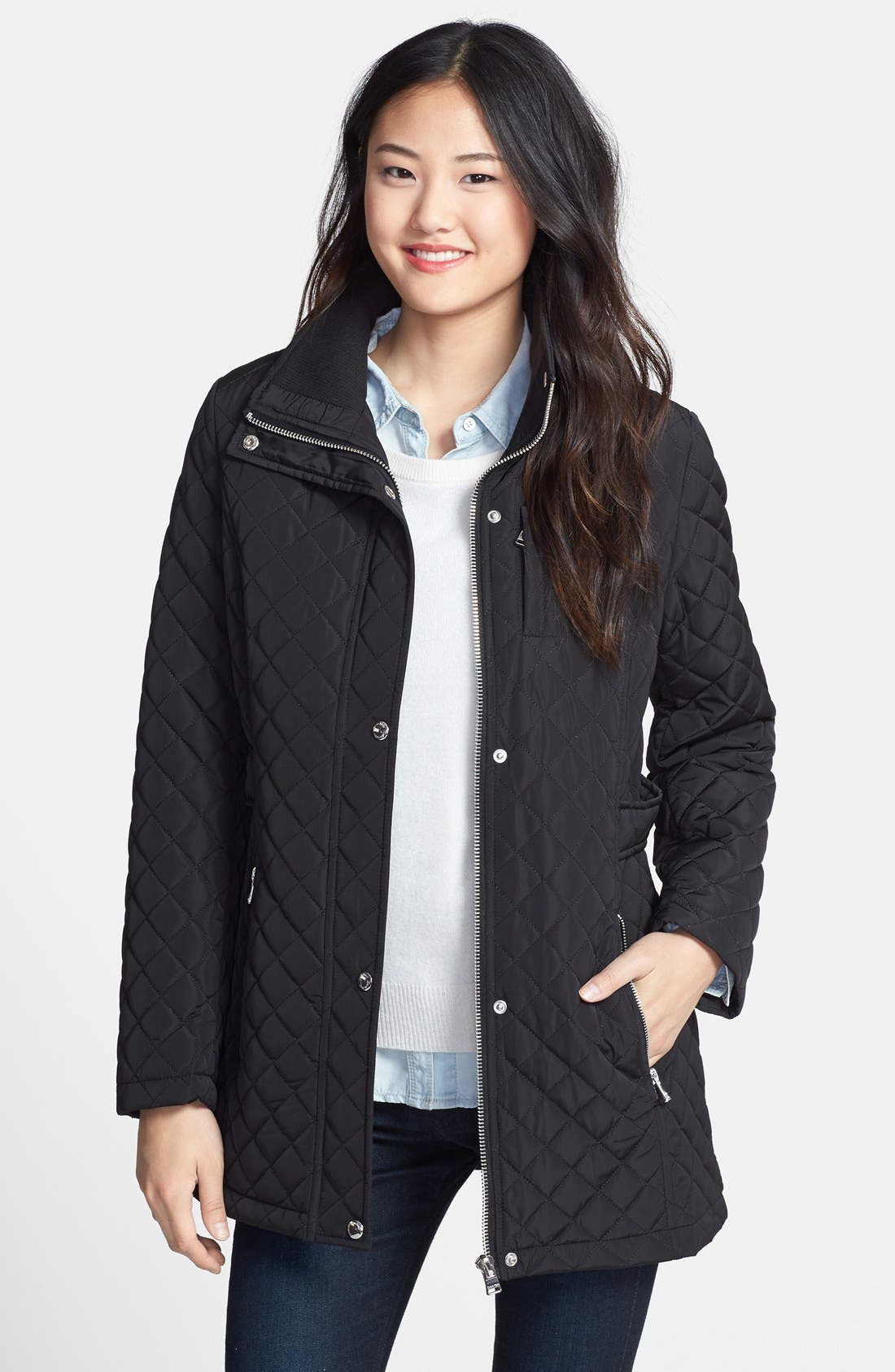 Hooded Quilted Jacket,                             Alternate thumbnail 9, color,                             001