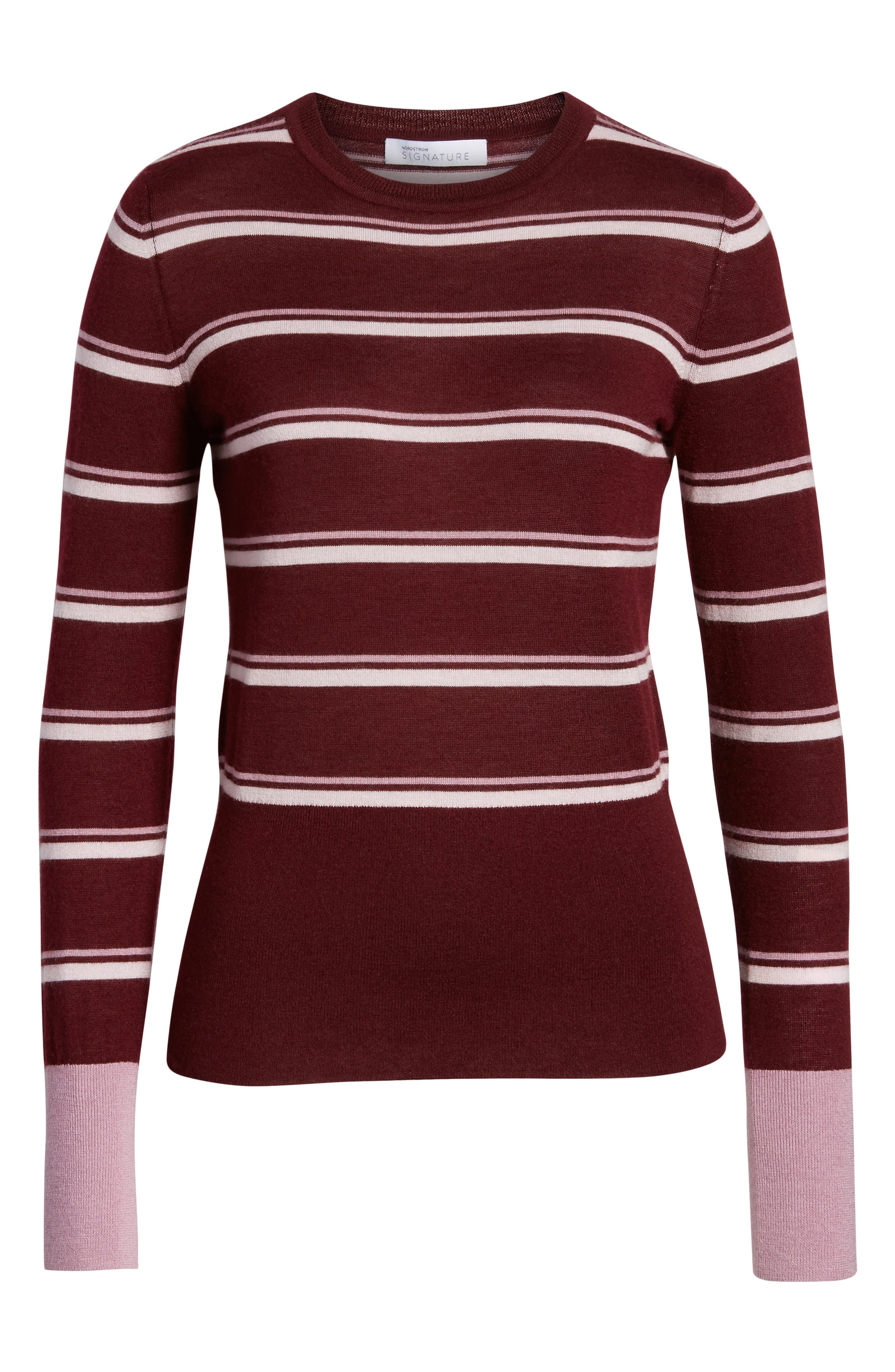 Stripe Cashmere Sweater,                             Alternate thumbnail 6, color,                             BURGUNDY STEP STRIPE