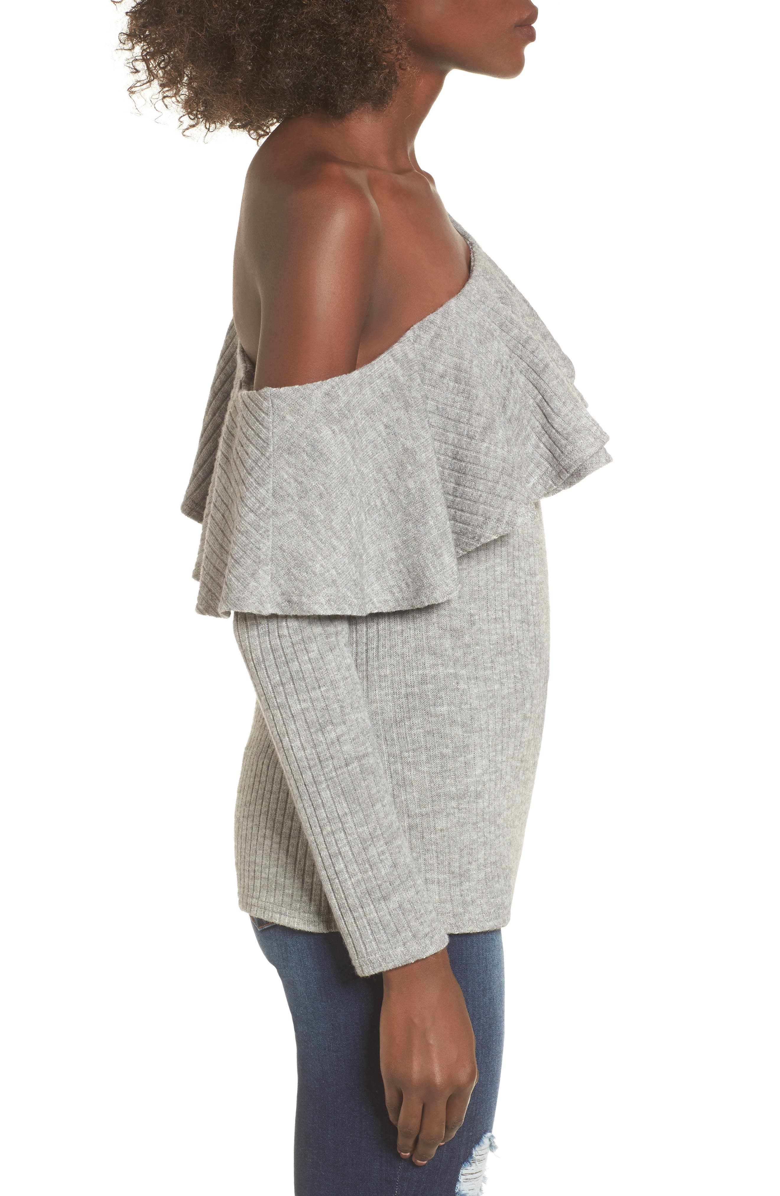 Ruffle One-Shoulder Sweater,                             Alternate thumbnail 3, color,                             020