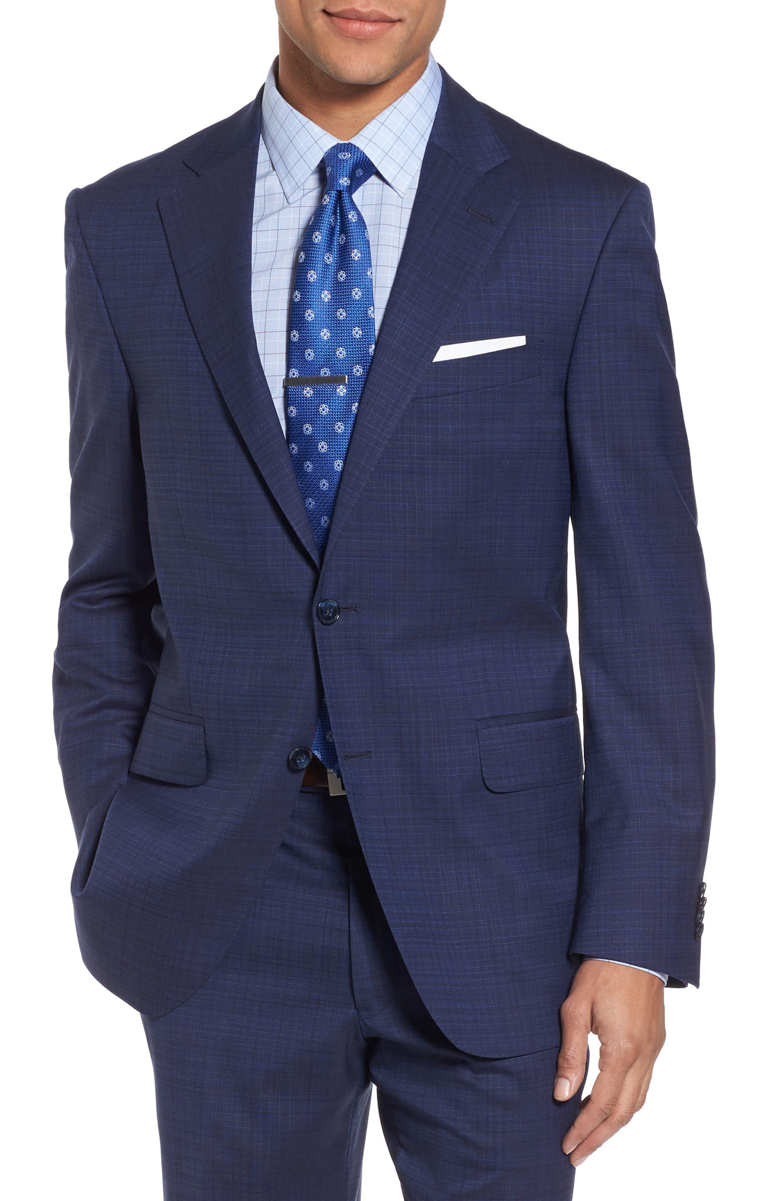 Classic Fit Check Wool Suit,                             Alternate thumbnail 5, color,                             400