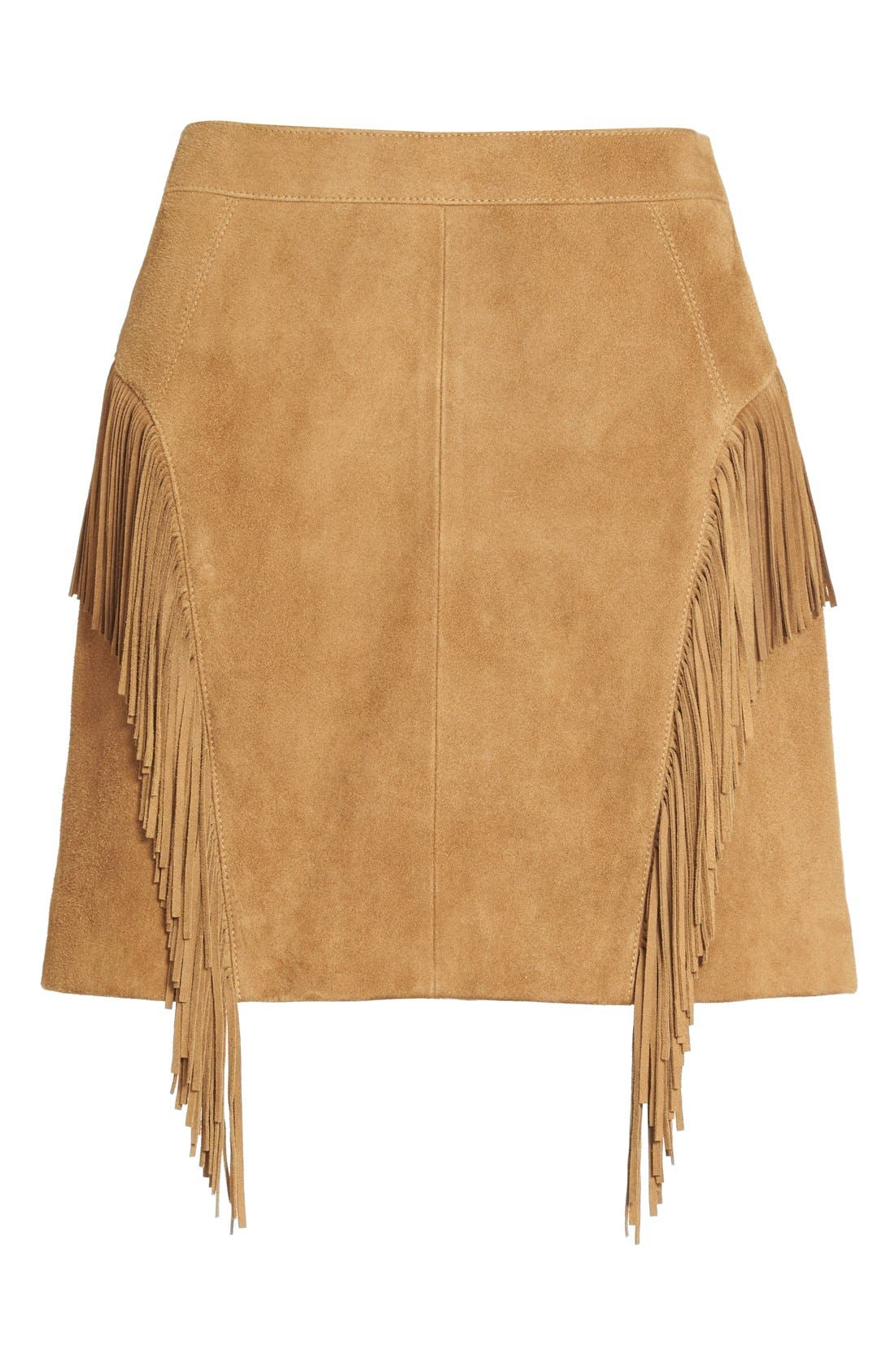 Suede Fringe Mini Skirt,                             Alternate thumbnail 2, color,                             244