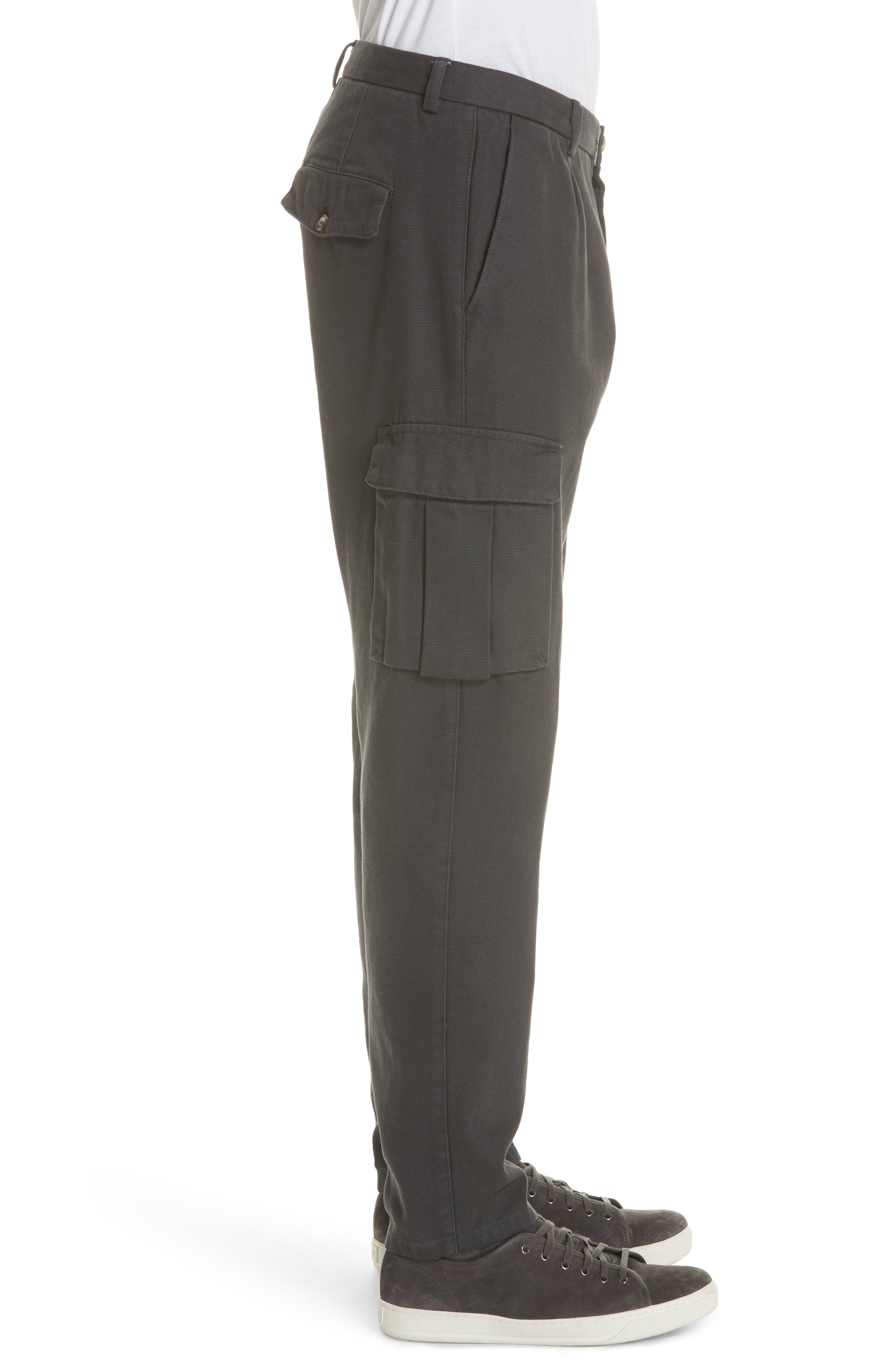 Stretch Canvas Cargo Pants,                             Alternate thumbnail 3, color,                             CHARCOAL