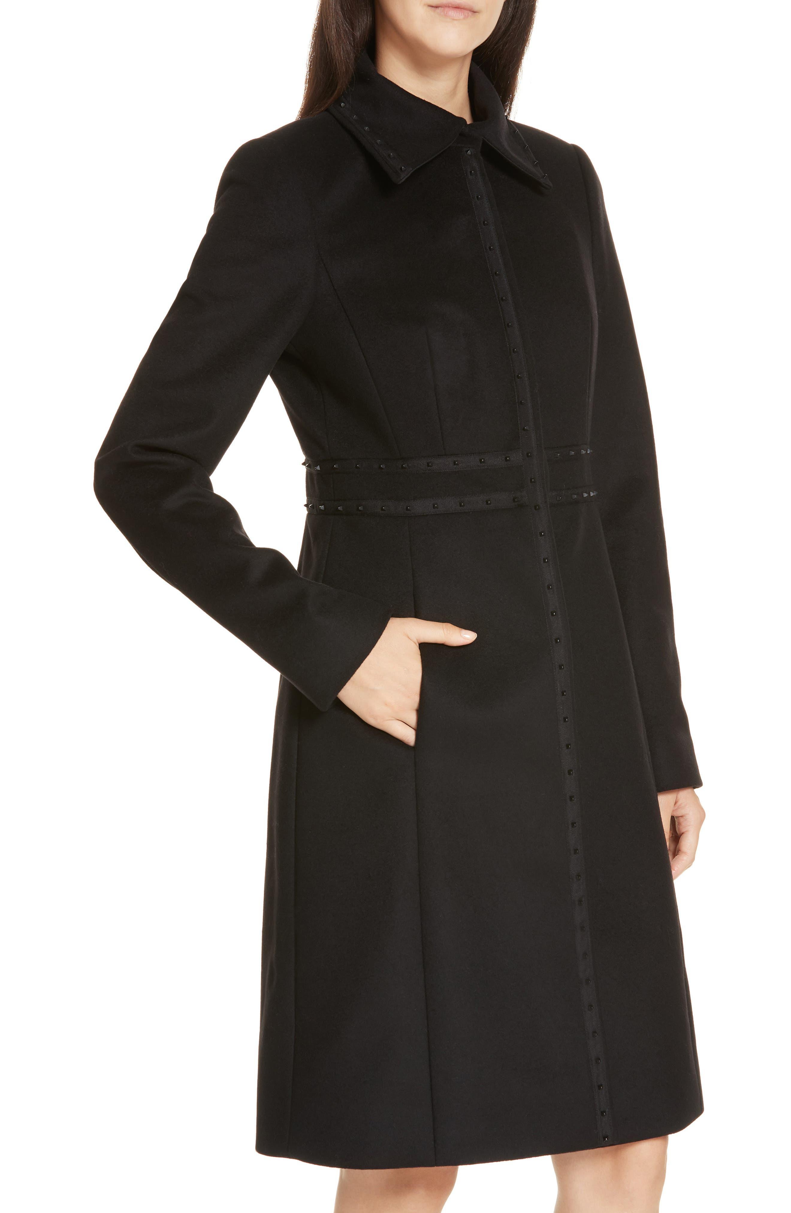 Wool & Cashmere Coat,                             Alternate thumbnail 4, color,                             BLACK