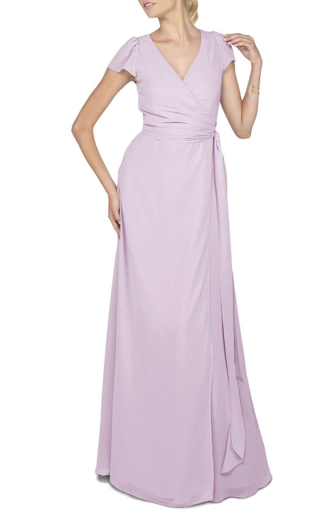 Aurele Cap Sleeve Chiffon Wrap Gown,                             Main thumbnail 3, color,