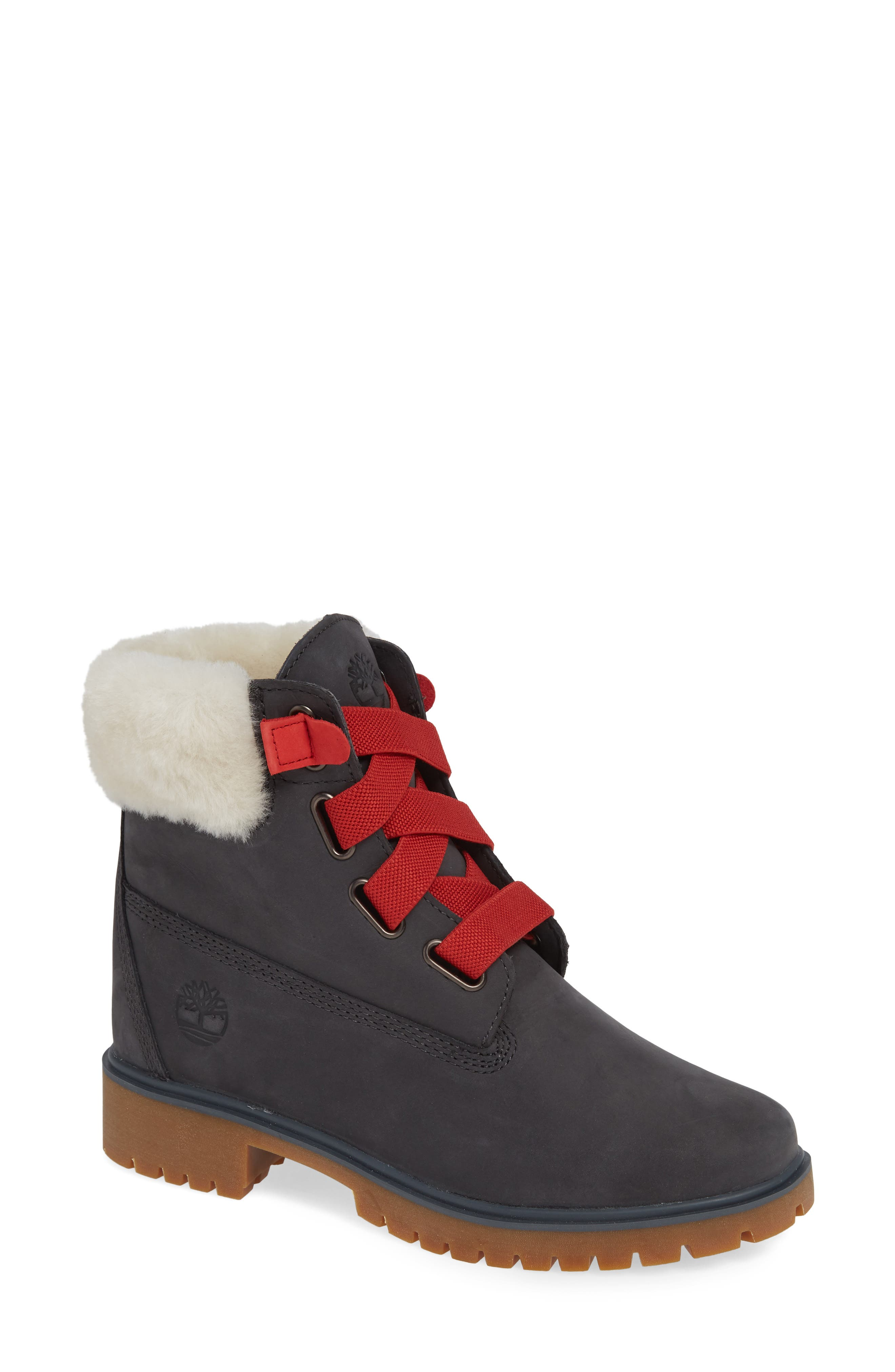 Convenience Waterproof Boot with Genuine Shearling Trim,                             Main thumbnail 1, color,                             065