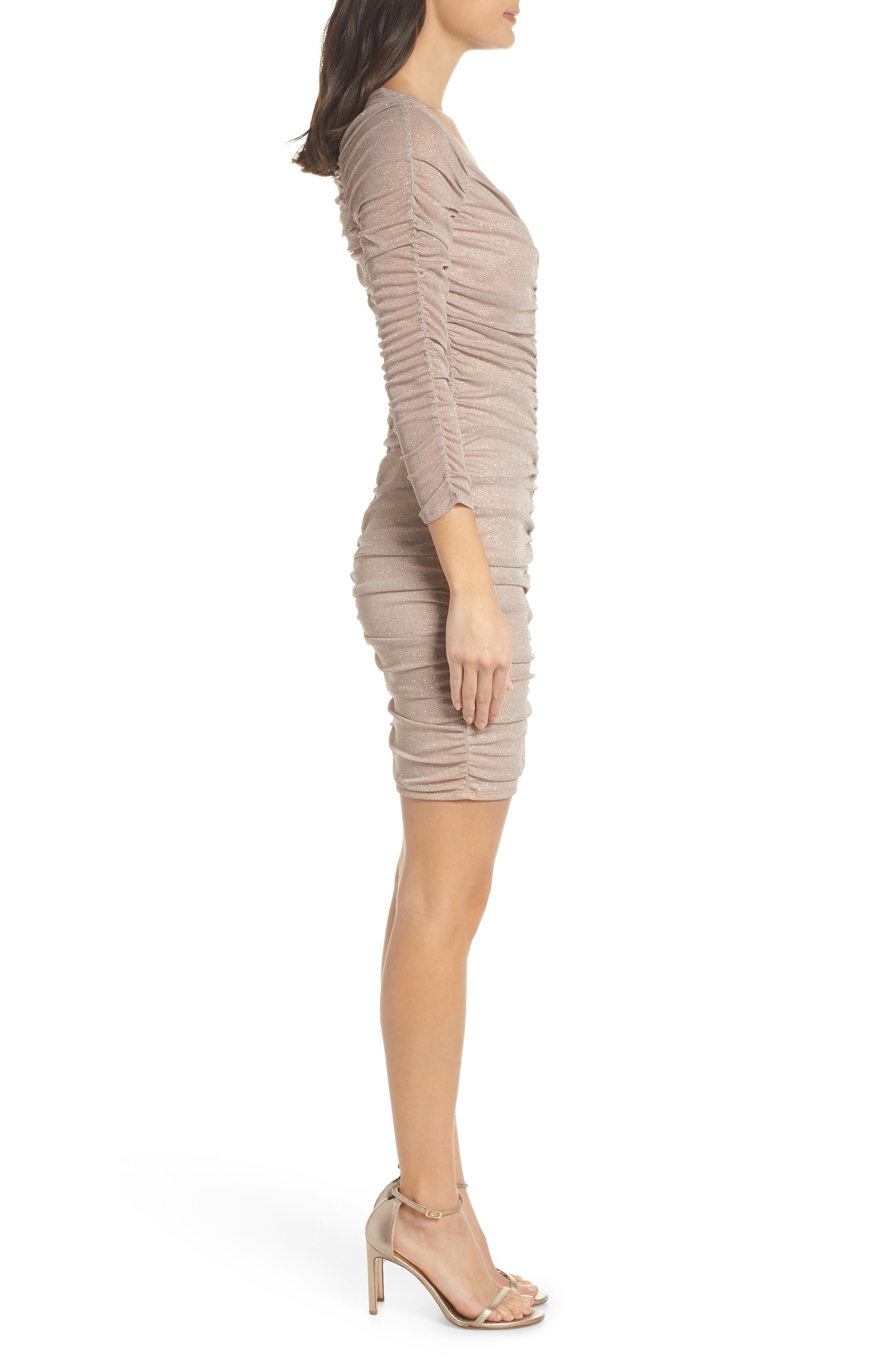 Ruched Body-Con Cocktail Sheath,                             Alternate thumbnail 3, color,                             NURW NUDE